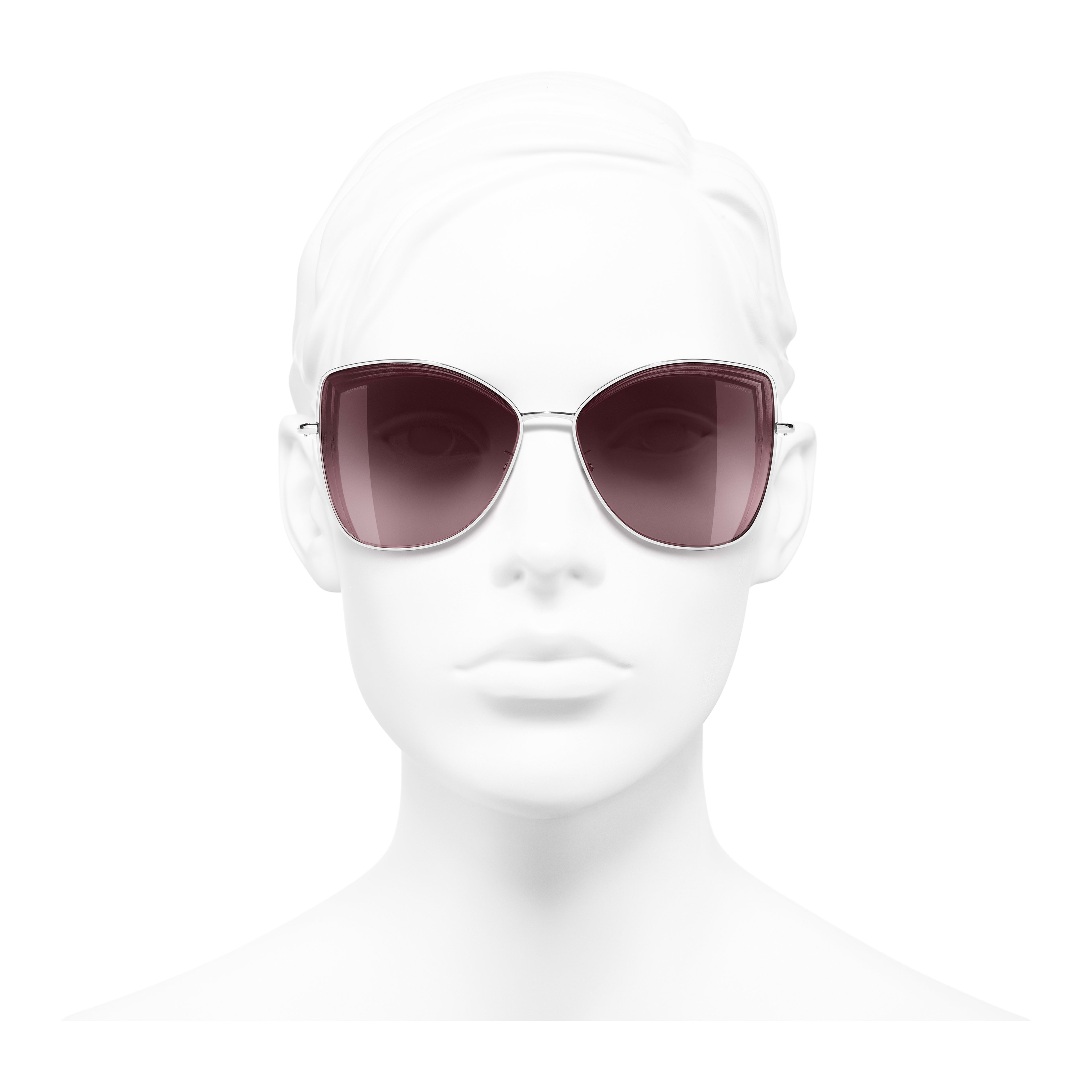 Butterfly Sunglasses - Silver - Metal - Worn front view - see full sized version