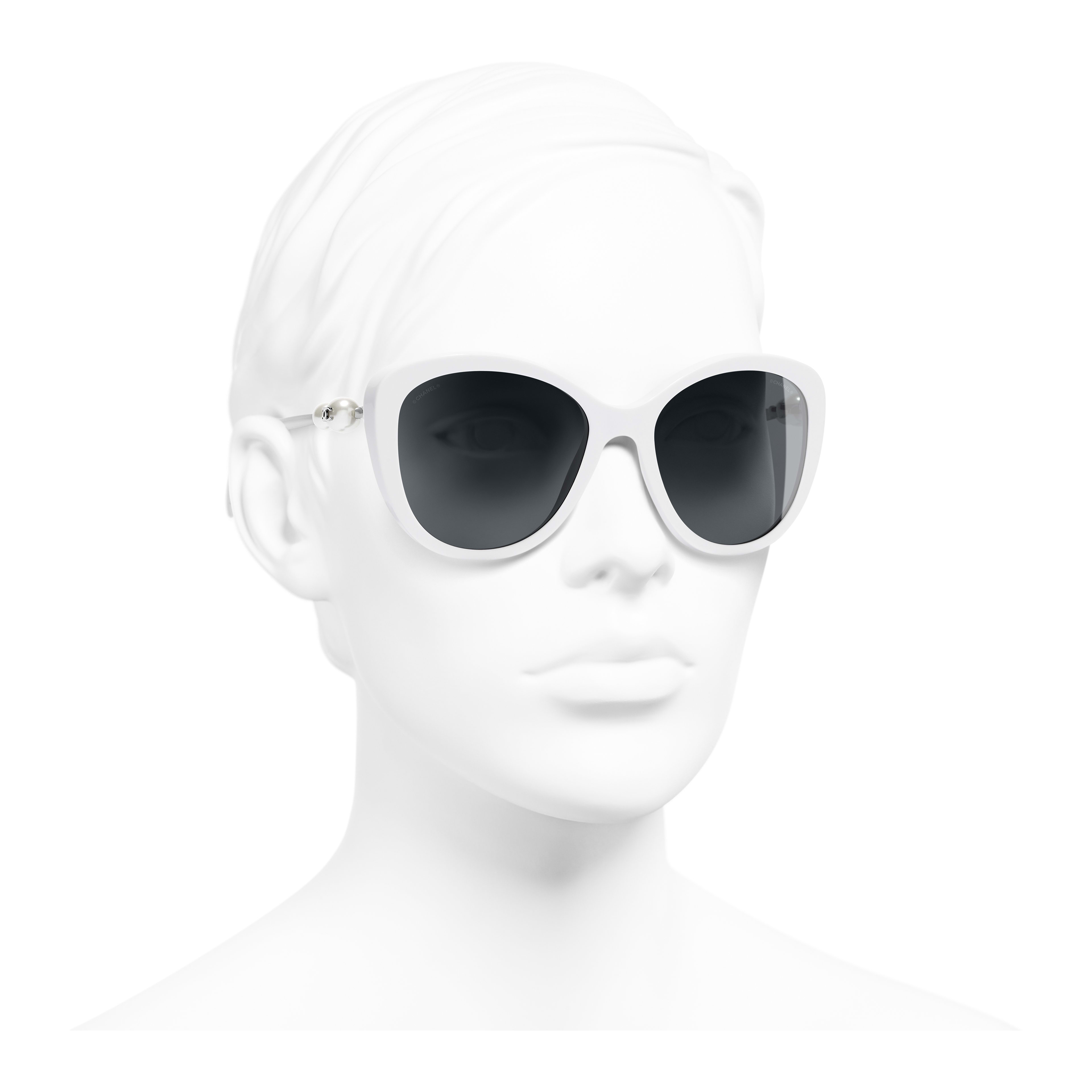 Butterfly Sunglasses - White - Acetate & Imitation Pearls - Worn 3/4 view - see full sized version