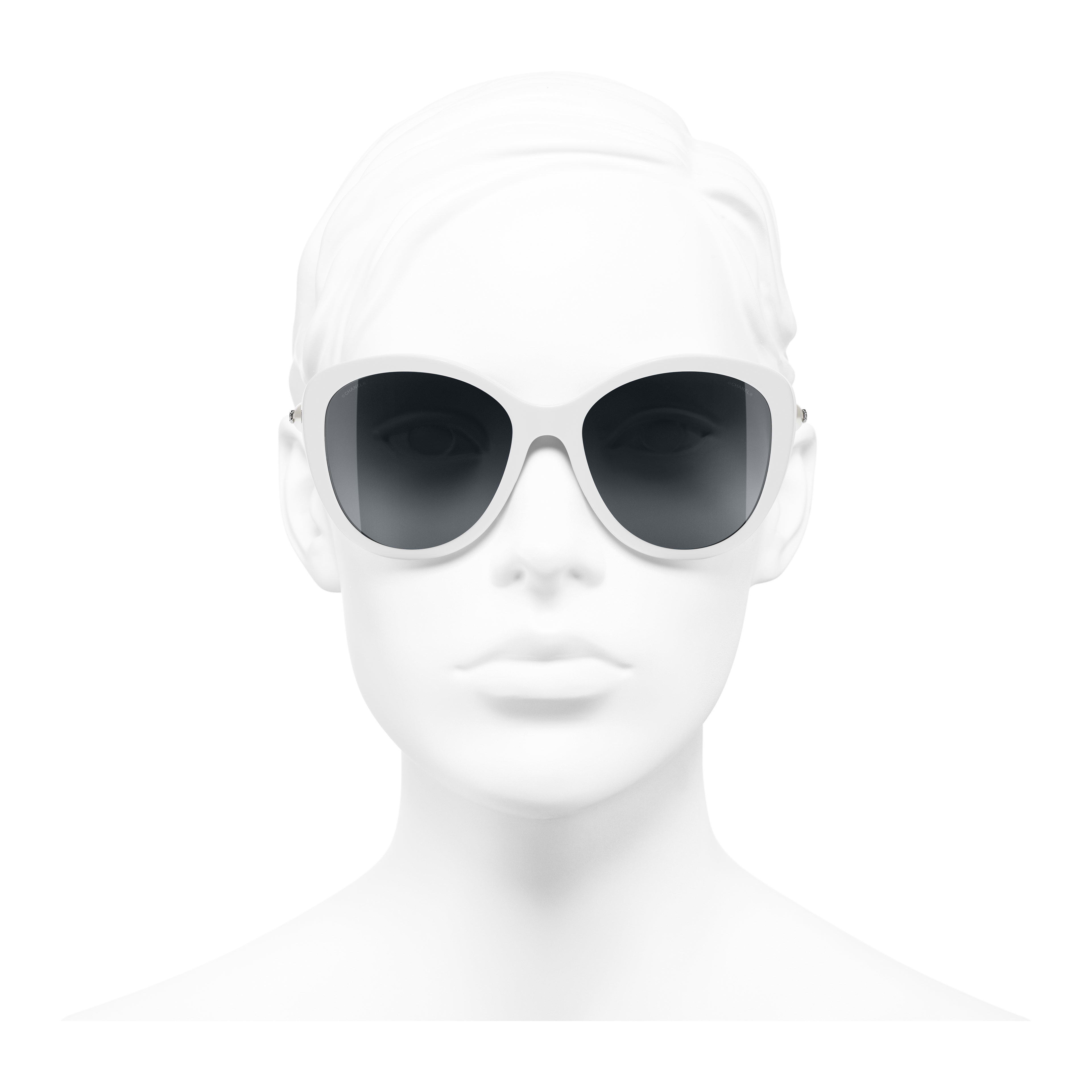 Butterfly Sunglasses - White - Acetate & Imitation Pearls - Worn front view - see full sized version