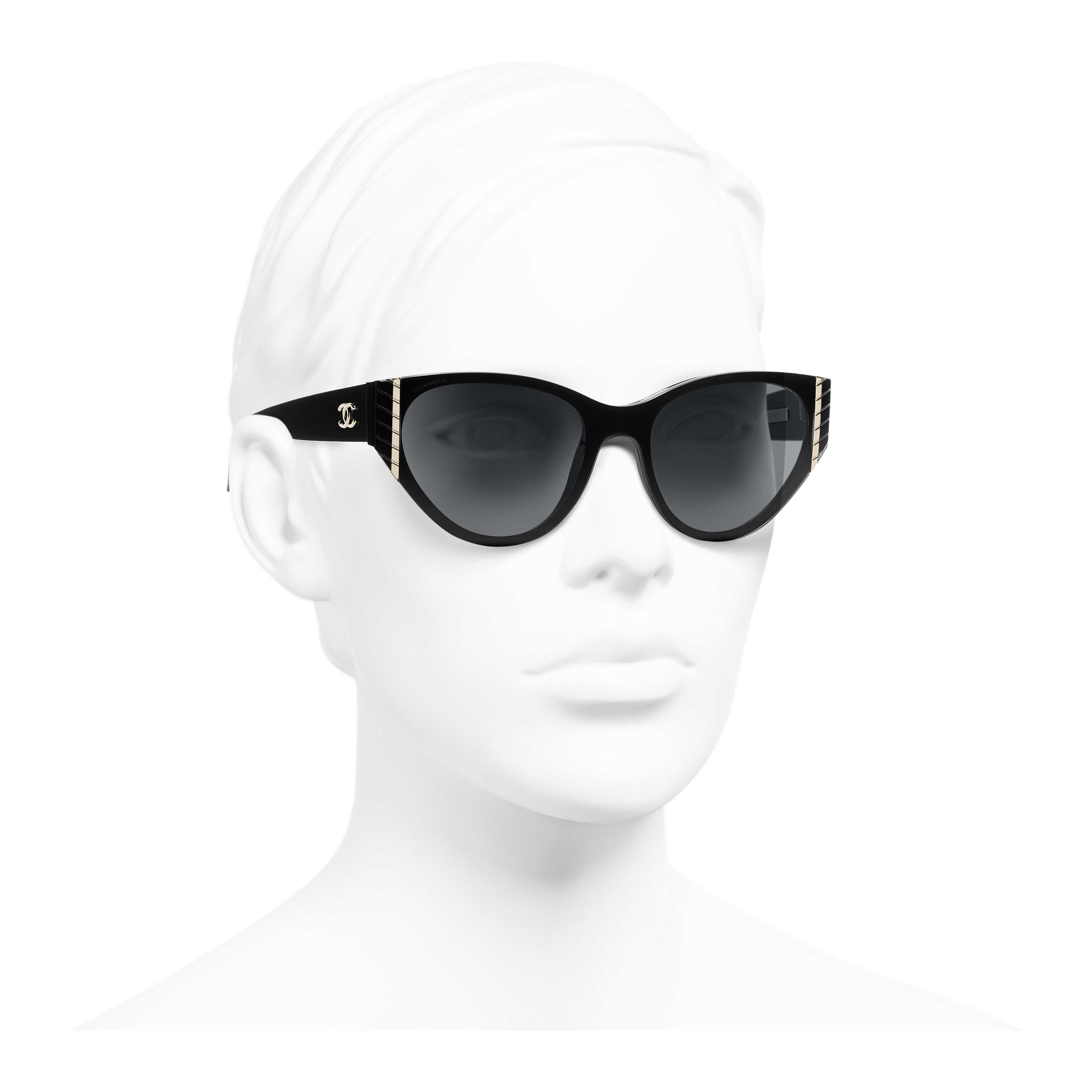 Cat Eye Sunglasses - Black - Acetate - Worn 3/4 view - see full sized version