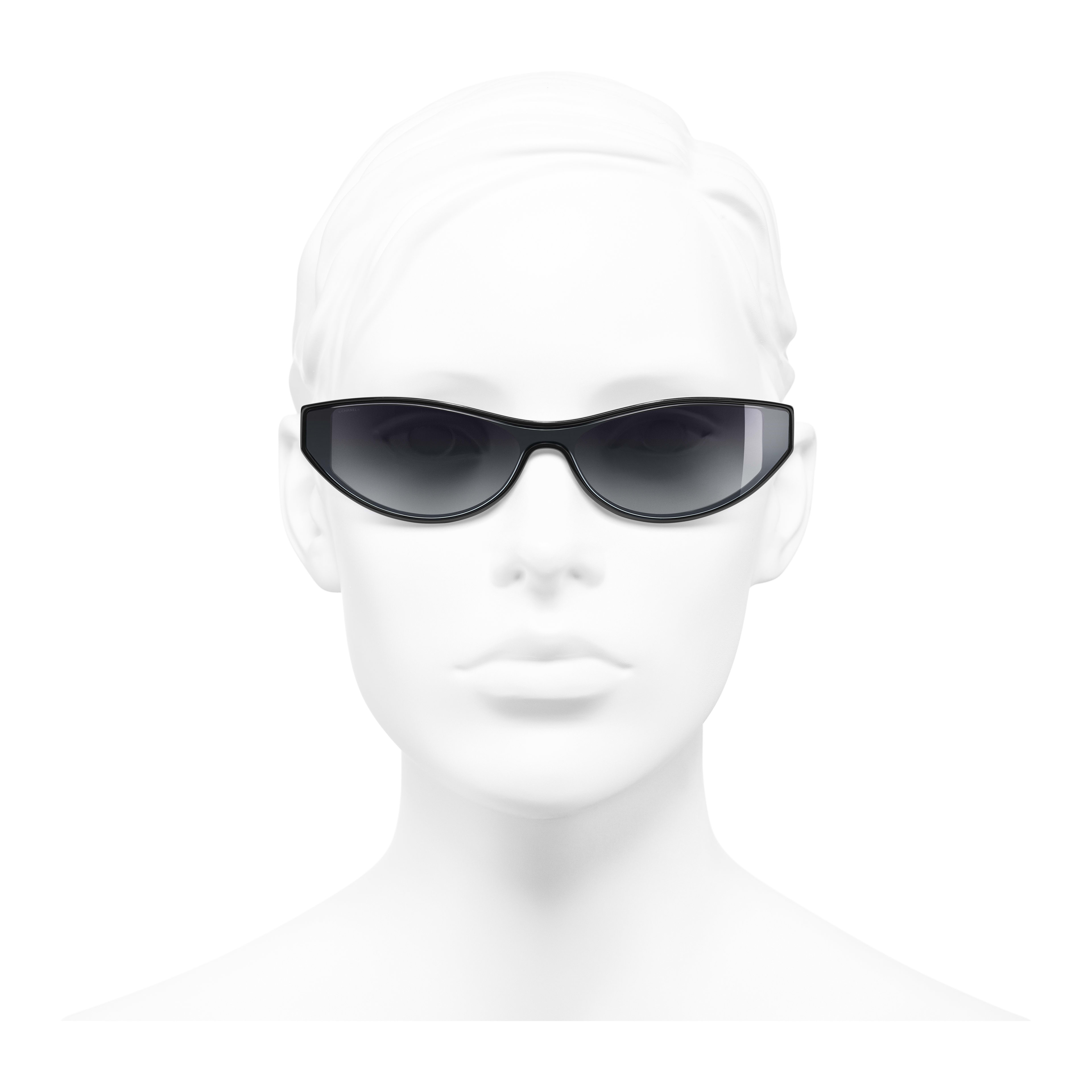 Cat Eye Sunglasses - Black - Acetate - Worn front view - see full sized version