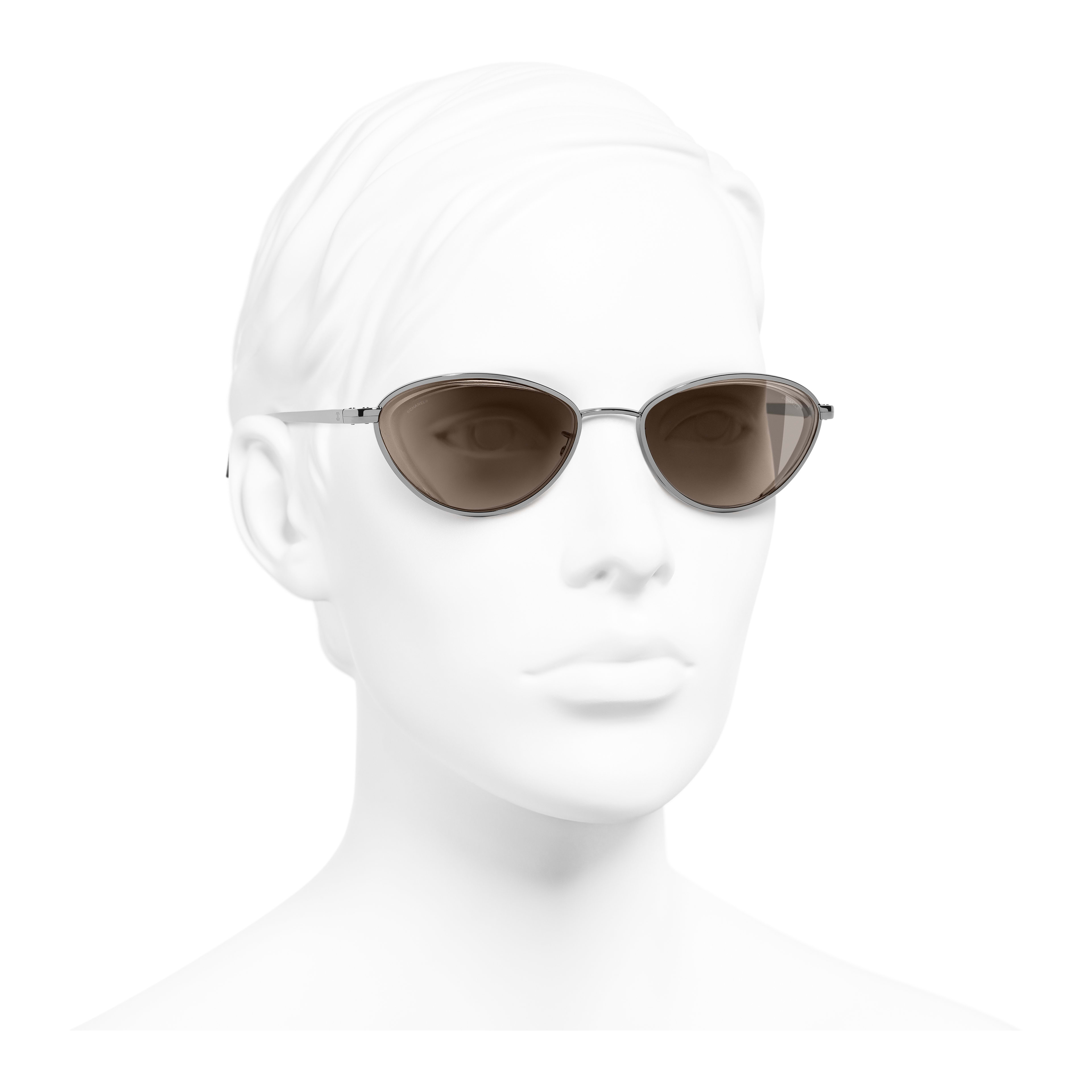 Cat Eye Sunglasses - Dark Silver - Metal - Worn 3/4 view - see full sized version
