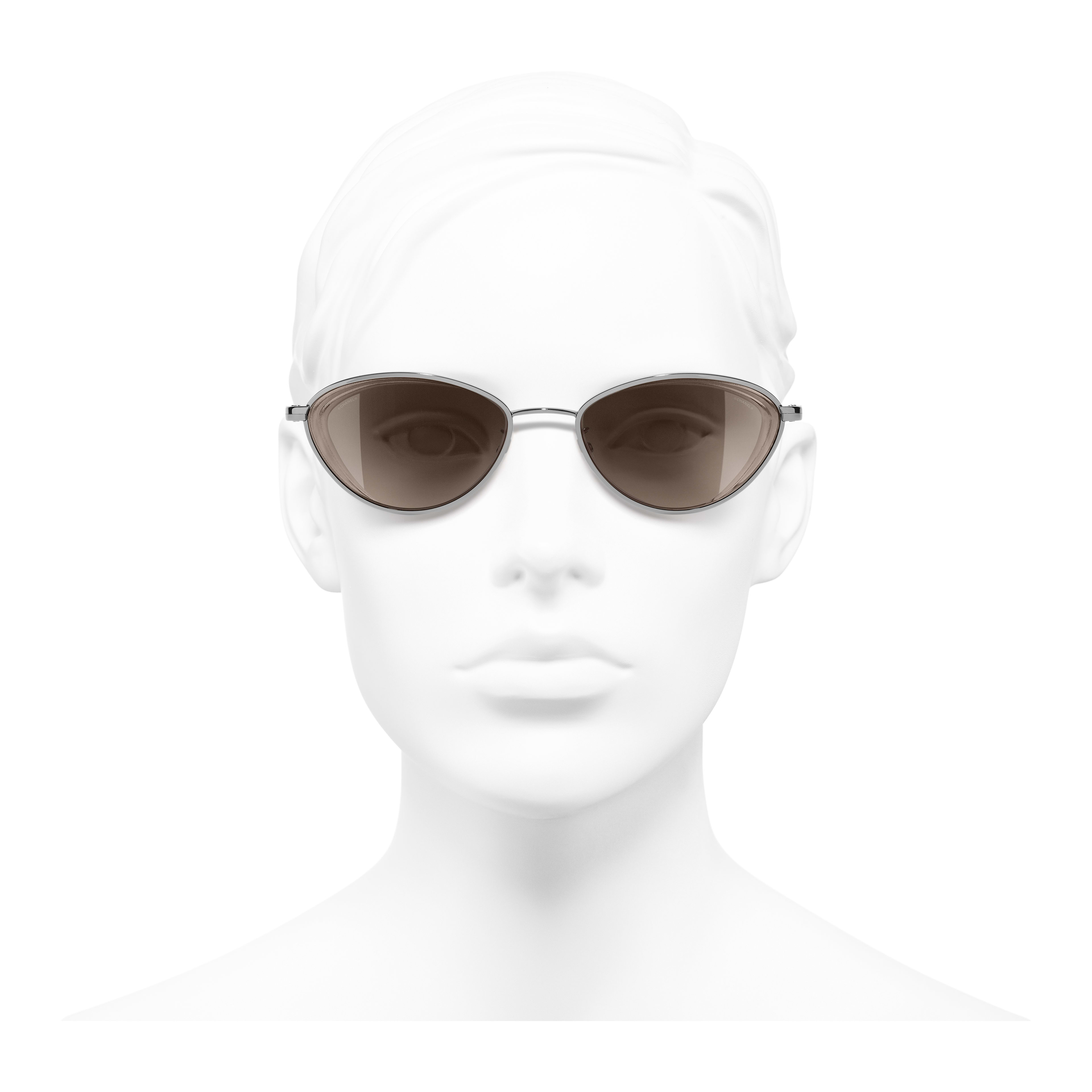 Cat Eye Sunglasses - Dark Silver - Metal - Worn front view - see full sized version