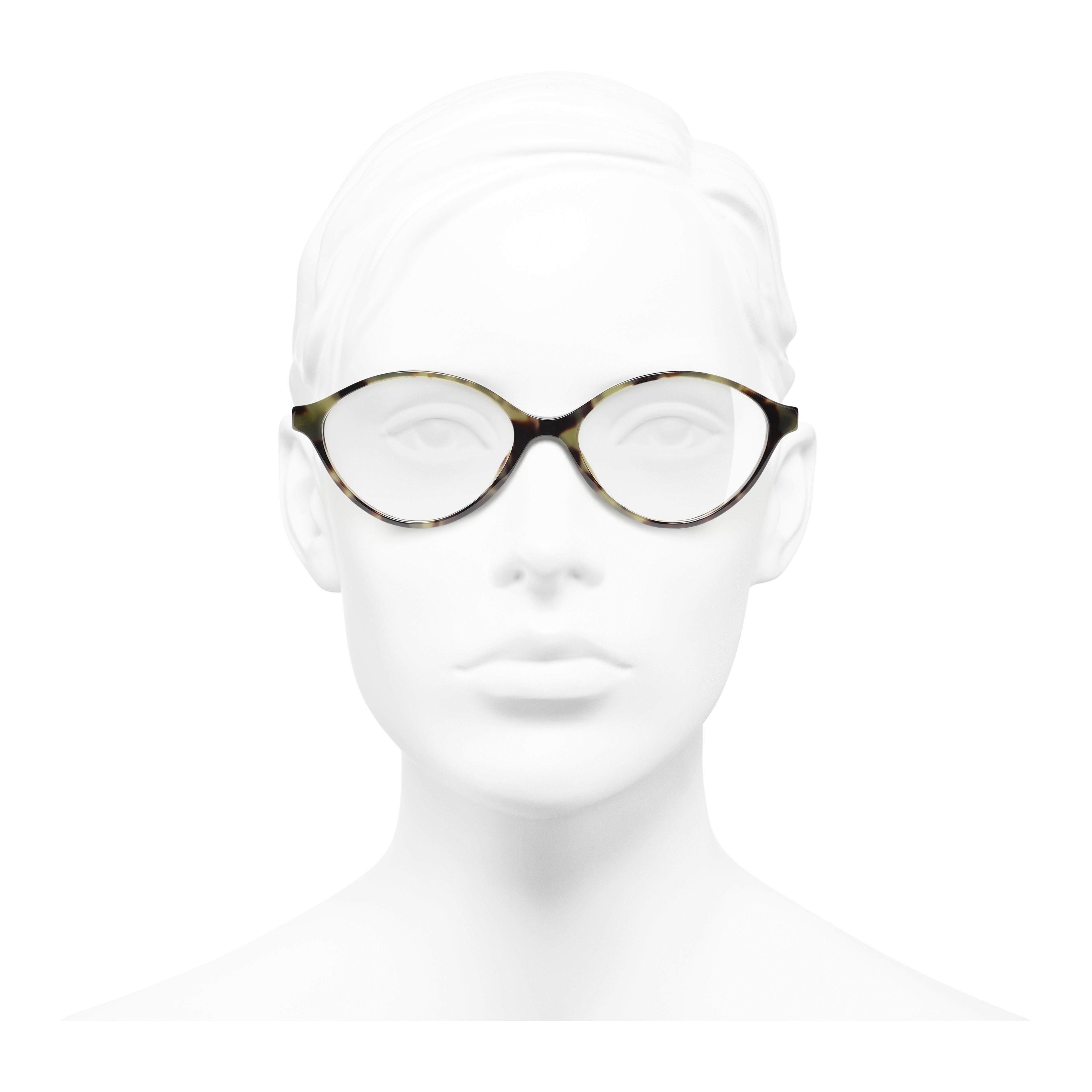 橢圓形眼鏡 - 綠玳瑁 - 高級樹脂 - 配戴時的正面視圖 - 查看全尺寸版本