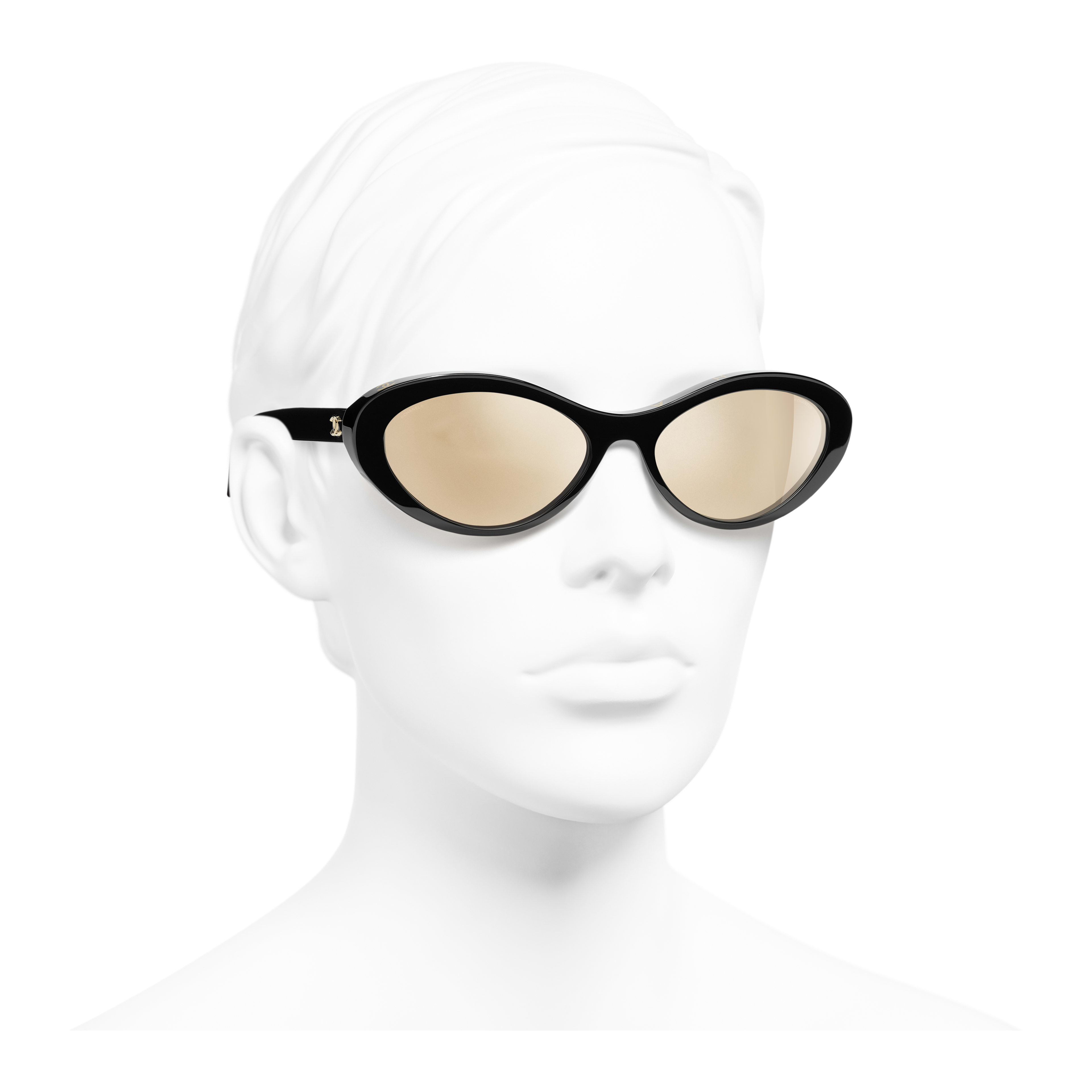 Oval Sunglasses - Black - Acetate - Worn 3/4 view - see full sized version