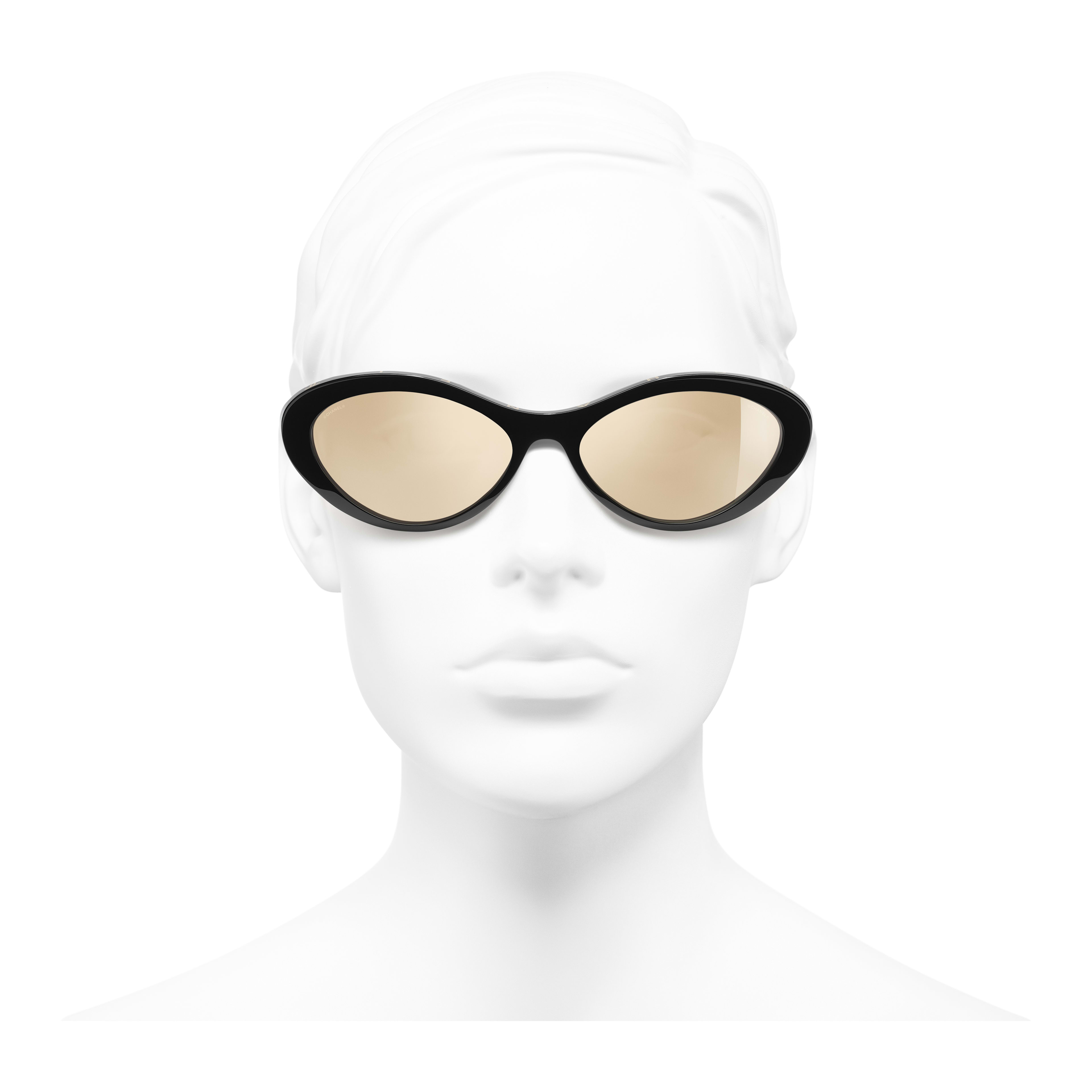 Oval Sunglasses - Black - Acetate - Worn front view - see full sized version