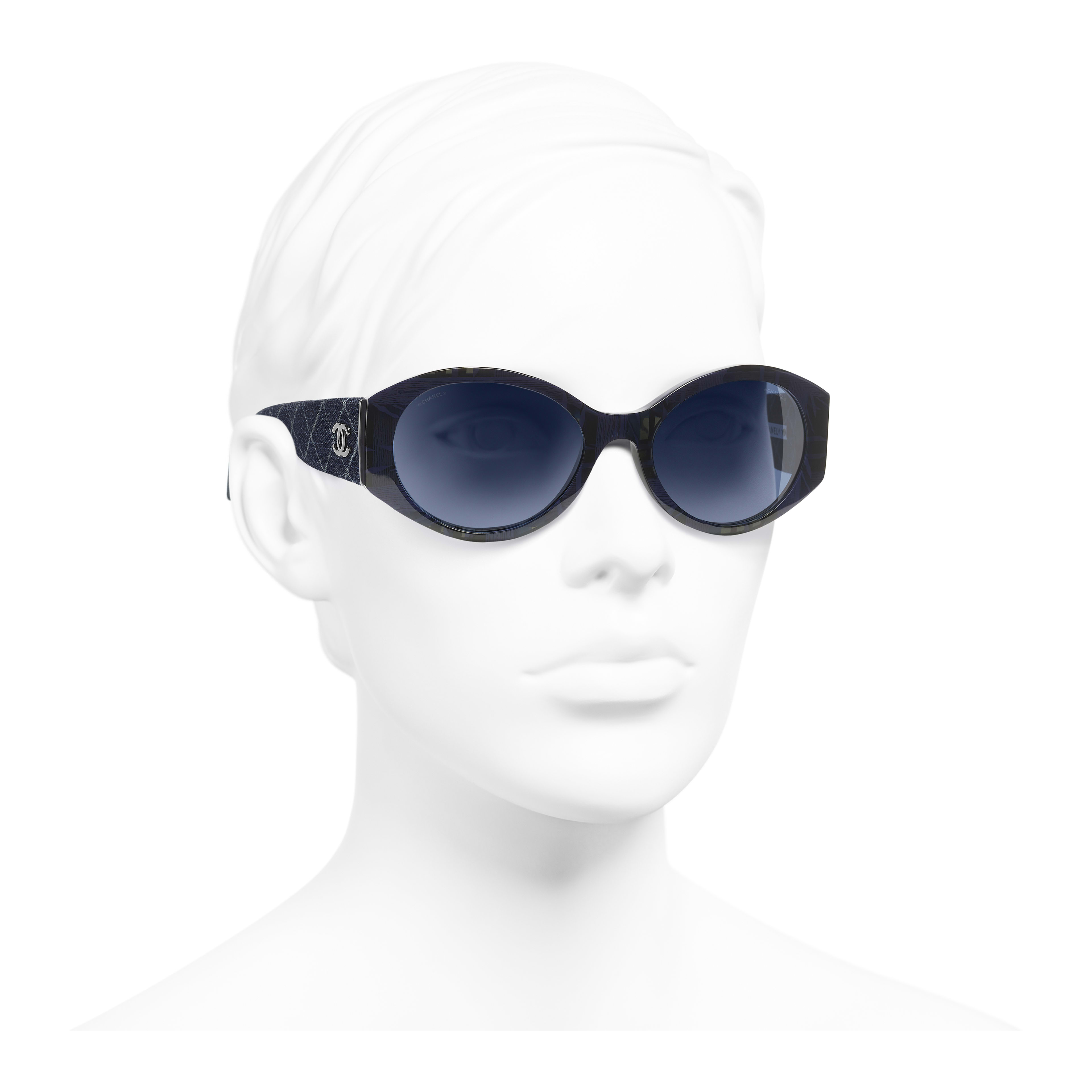 Oval Sunglasses - Blue & Dark Blue - Acetate & Denim - Worn 3/4 view - see full sized version