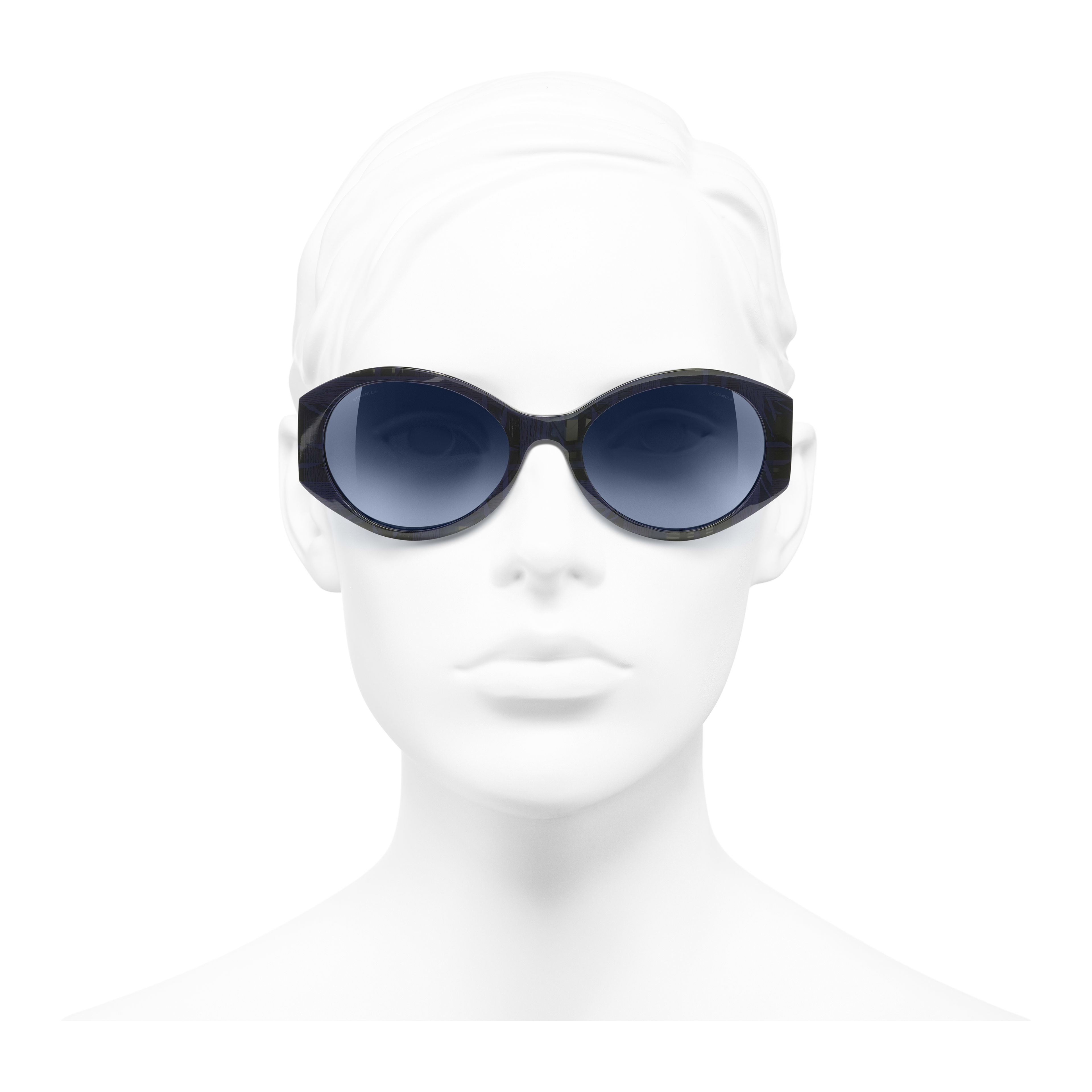 Oval Sunglasses - Blue & Dark Blue - Acetate & Denim - Worn front view - see full sized version