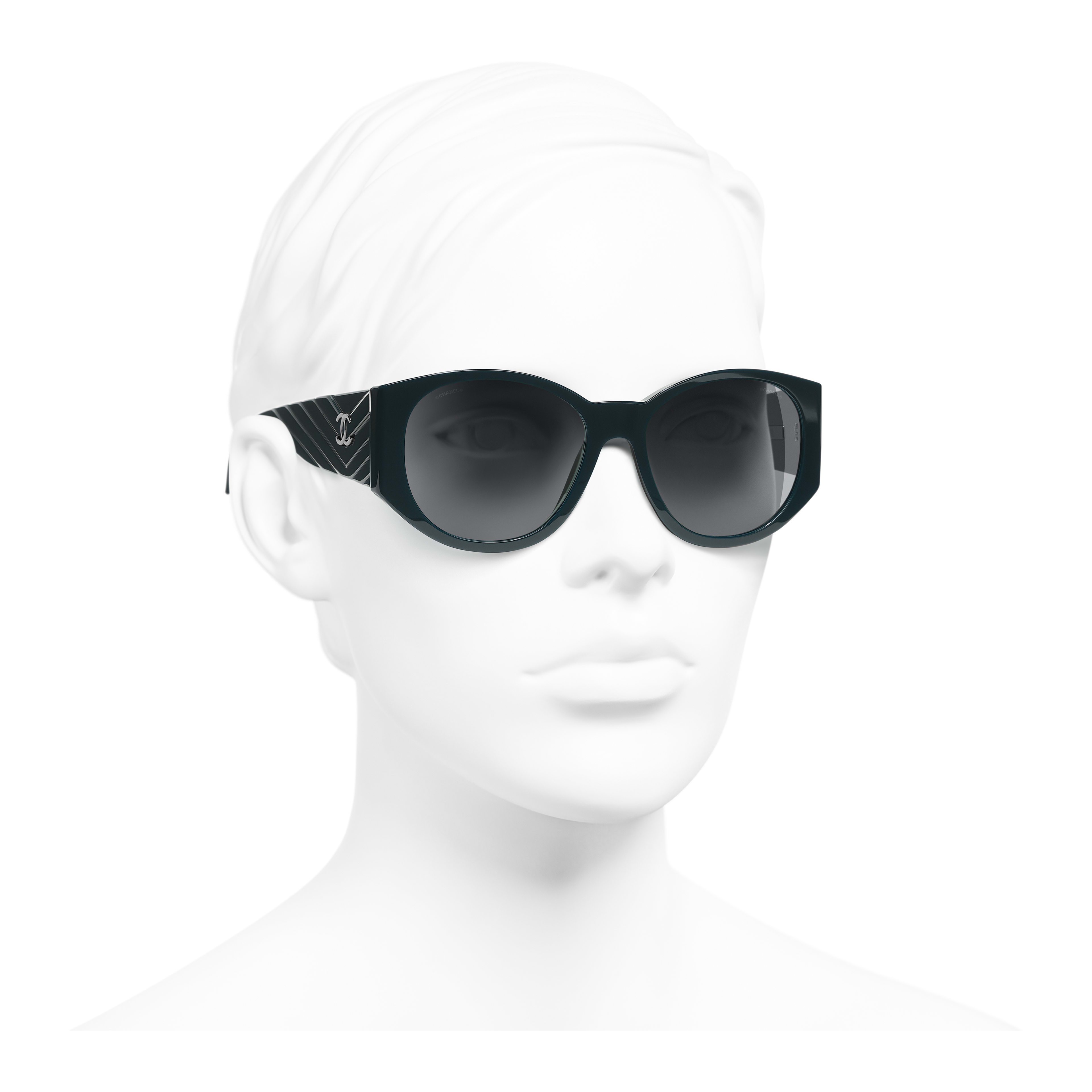 Oval Sunglasses - Dark Green - Acetate - Worn 3/4 view - see full sized version