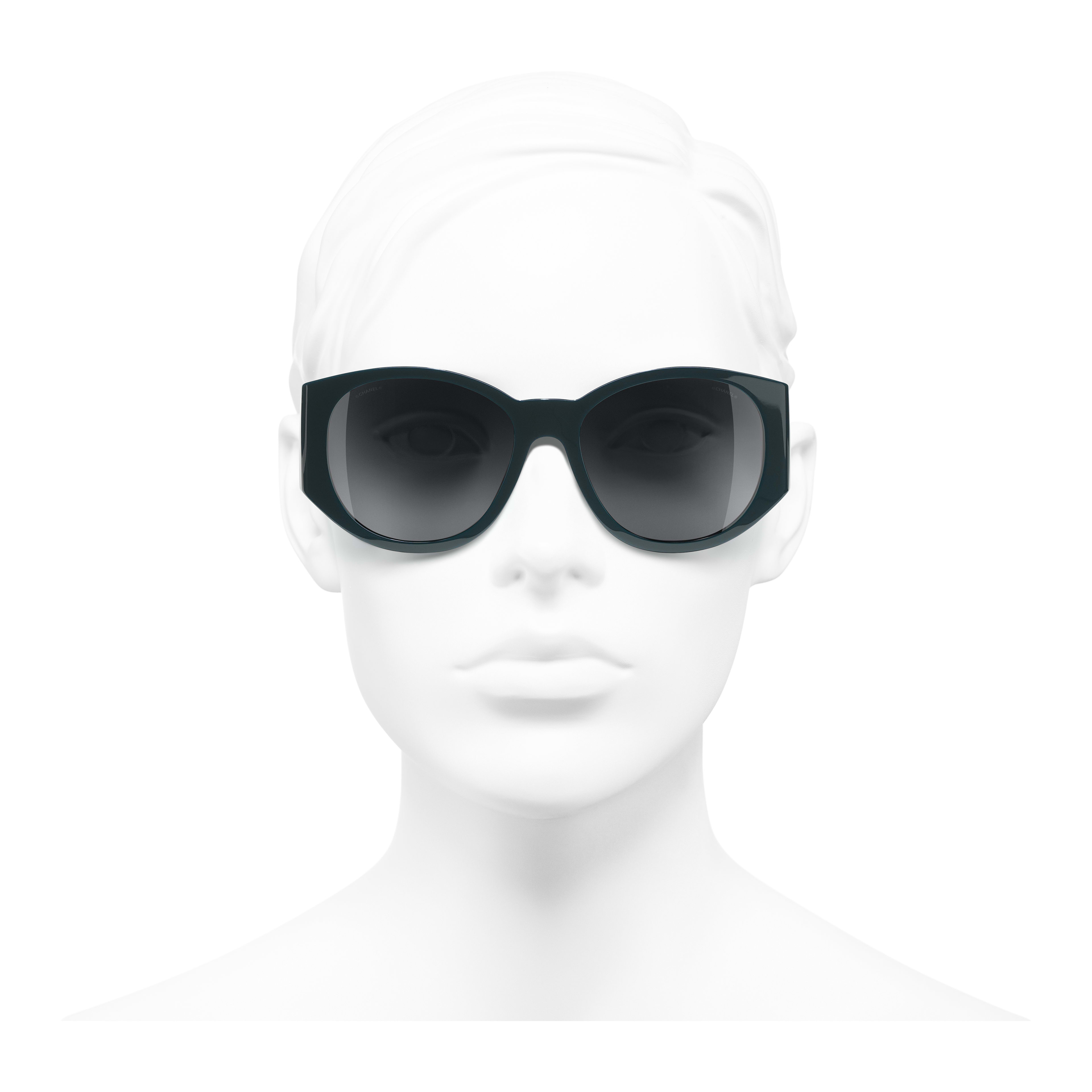 Oval Sunglasses - Dark Green - Acetate - Worn front view - see full sized version