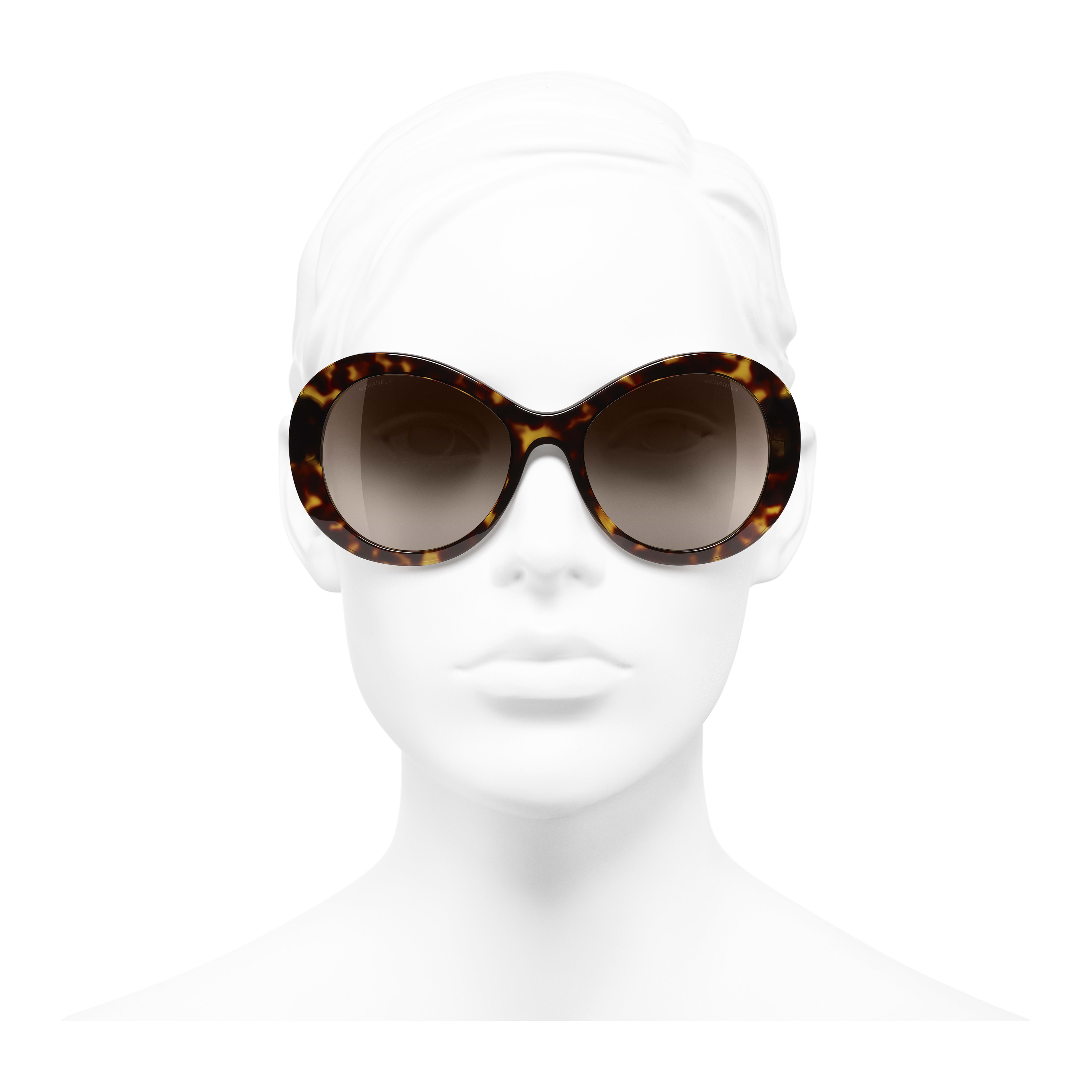 Oval Sunglasses - Dark Tortoise - Acetate - Worn front view - see full sized version