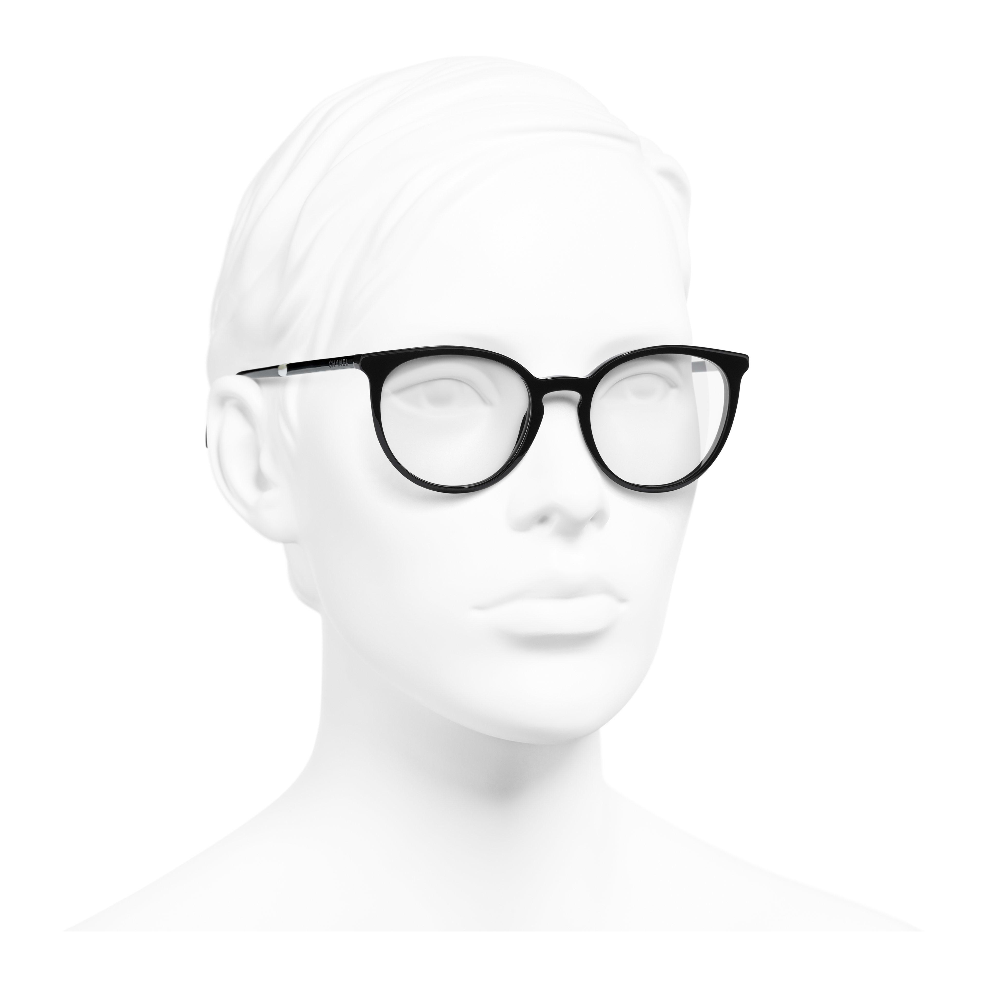 แว่นสายตาทรง Pantos (แพนโทส) - สีดำ - อะซิเตทและมุก - มุมมองการสวมใส่ 3/4 - ดูเวอร์ชันขนาดเต็ม