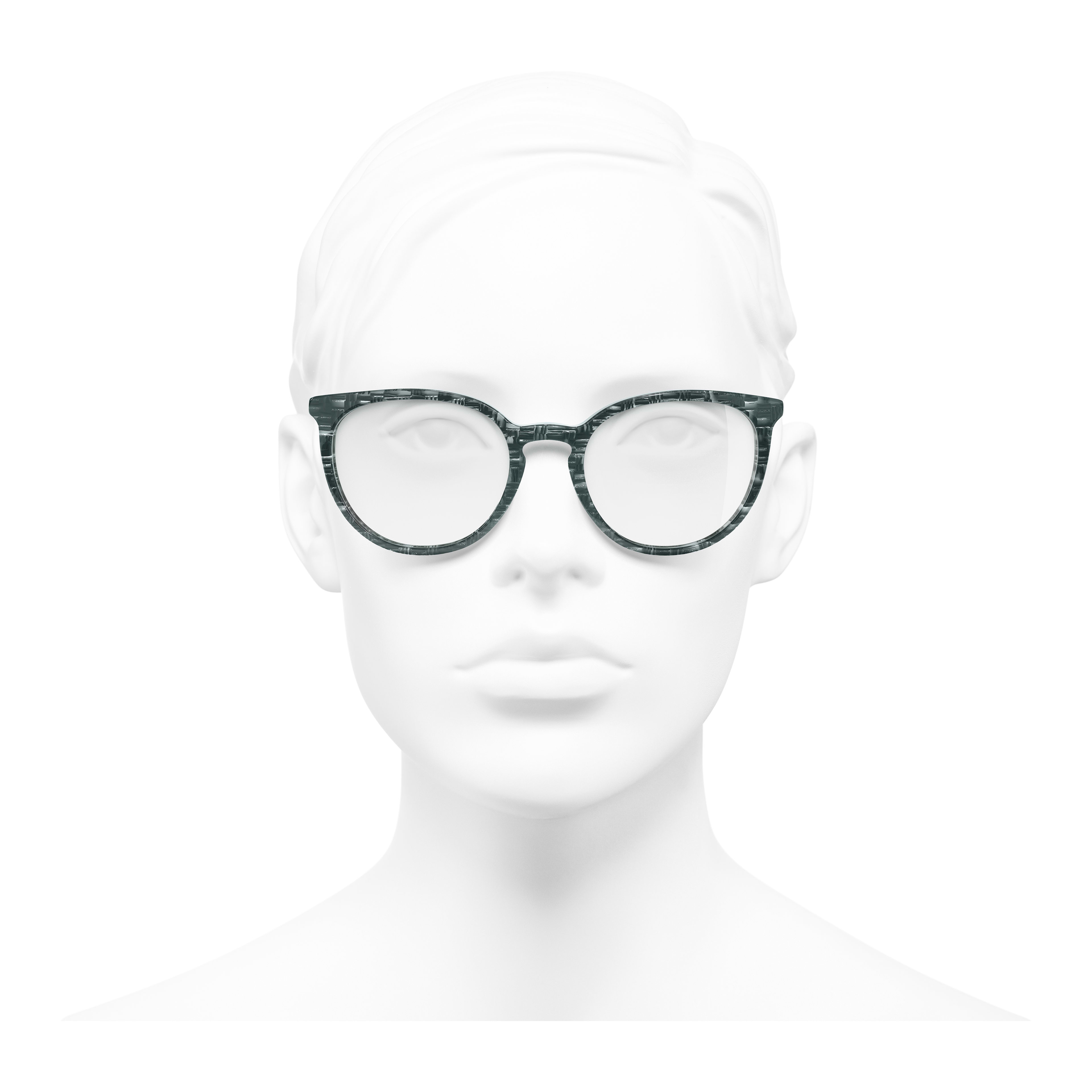 Pantos Eyeglasses - Glittered Green - Acetate & Imitation Pearls - Worn front view - see full sized version