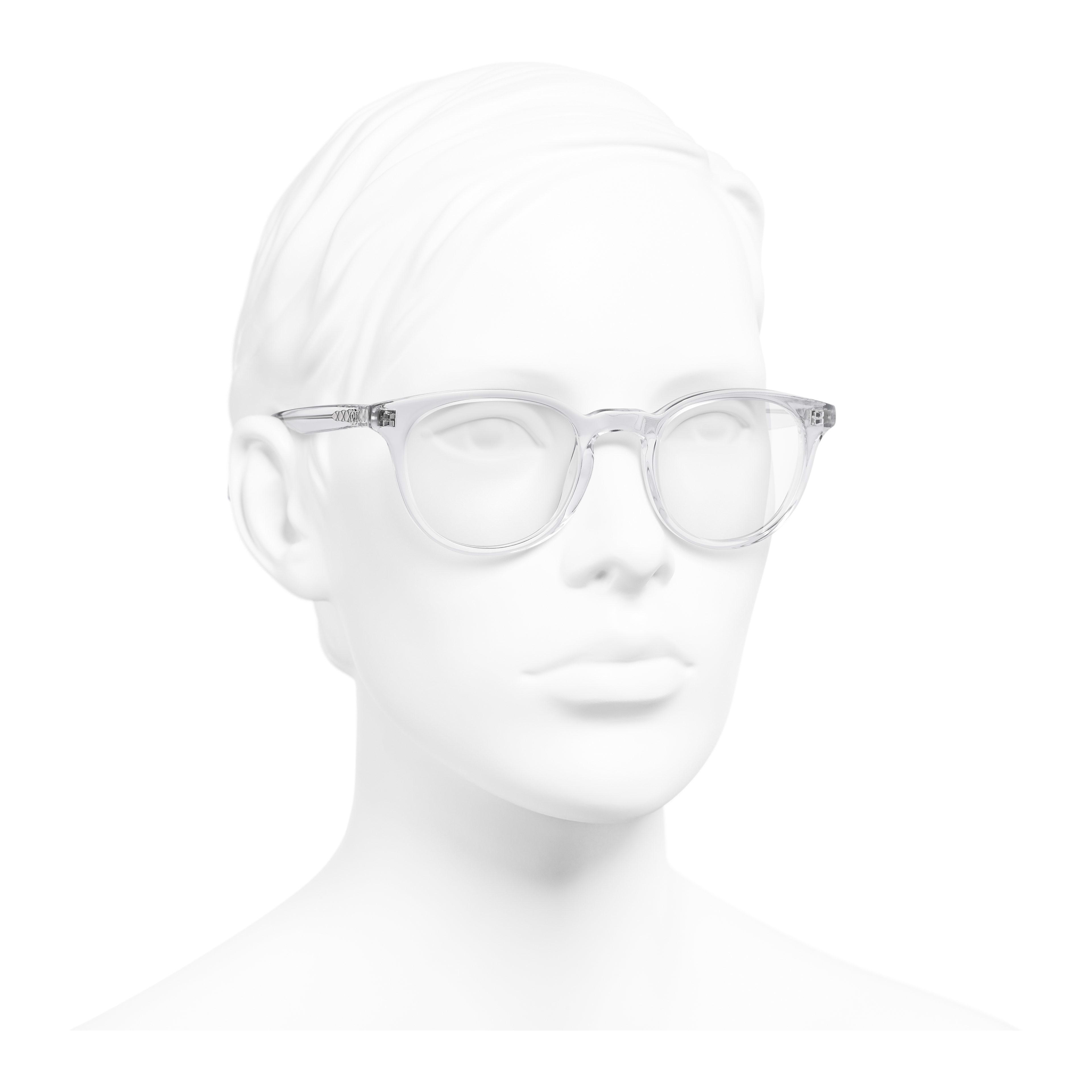 Pantos Eyeglasses - Transparent - Acetate - Worn 3/4 view - see full sized version