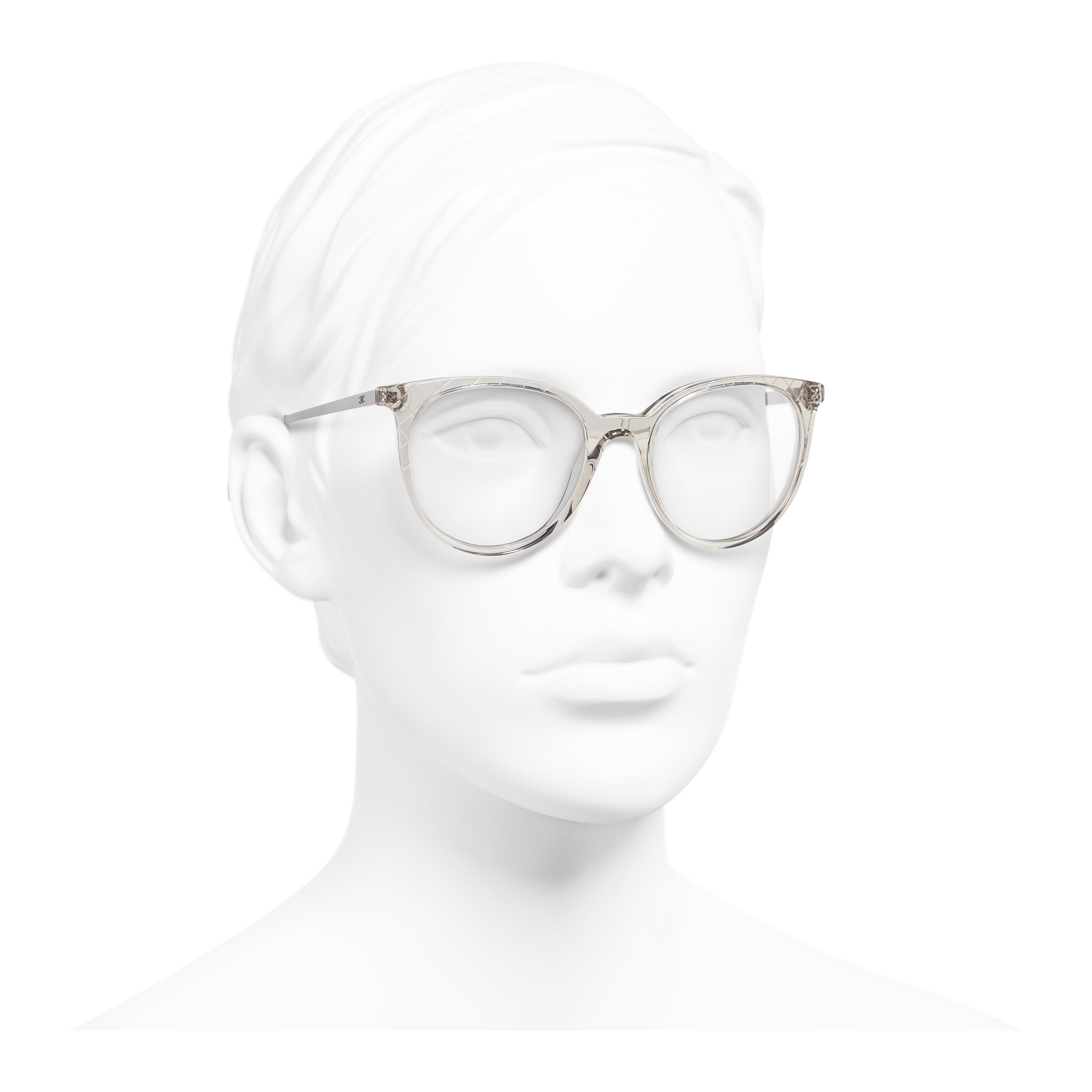 Pantos Eyeglasses - Transparent Beige - Acetate & Metal - Worn 3/4 view - see full sized version