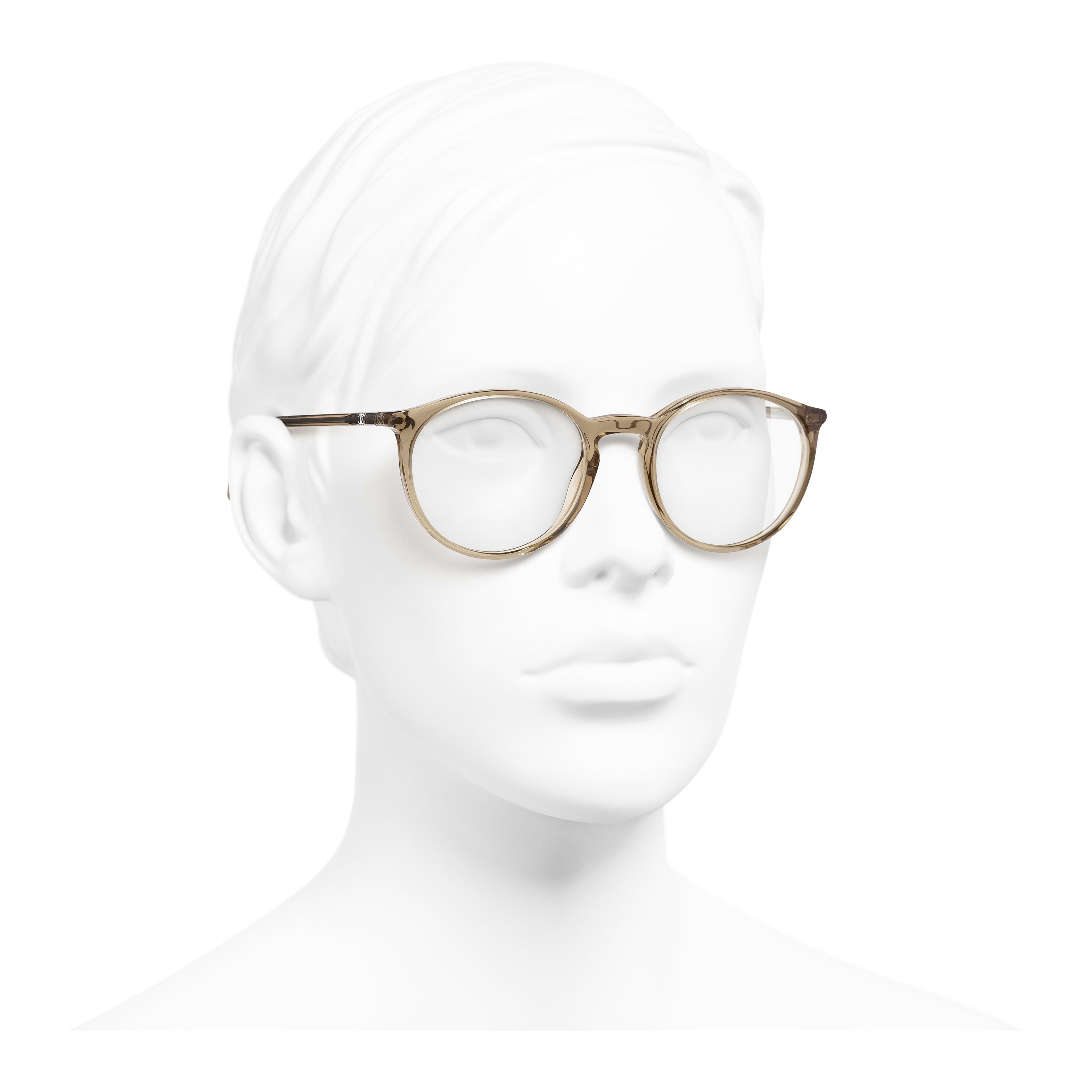 Pantos Eyeglasses - Transparent Brown - Acetate - Worn 3/4 view - see full sized version