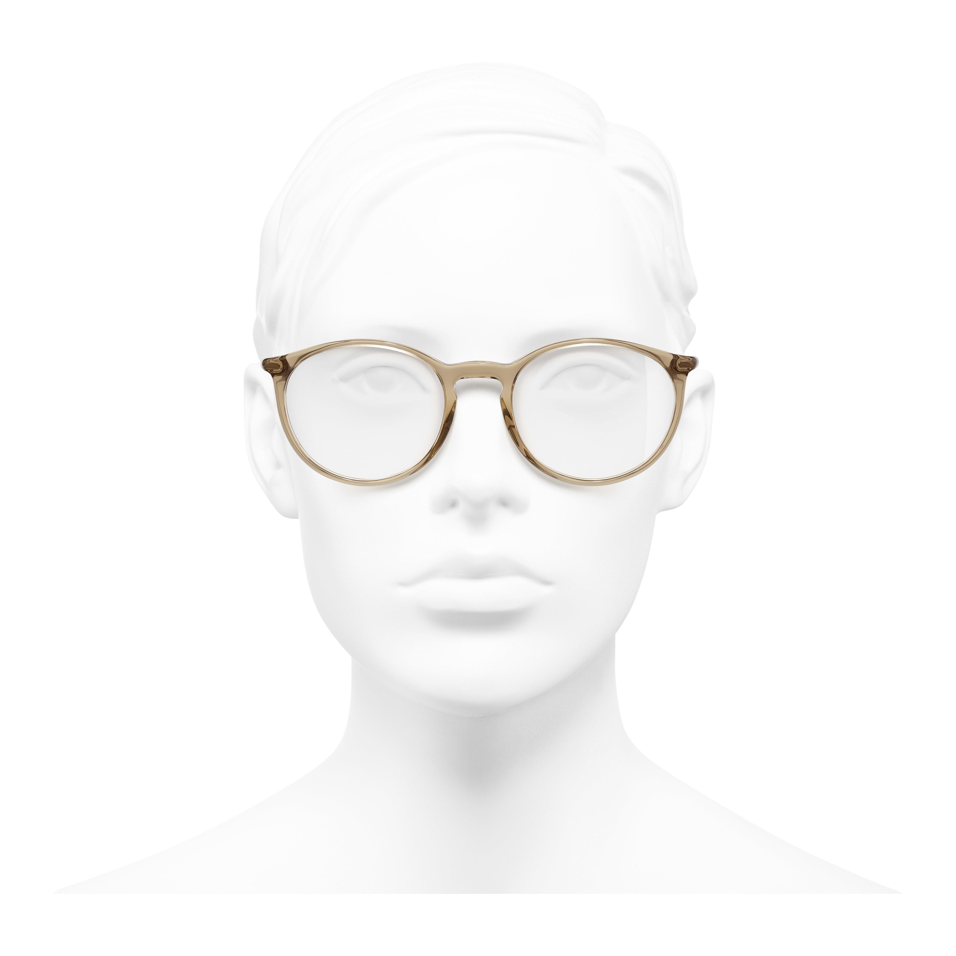 Pantos Eyeglasses - Transparent Brown - Acetate - Worn front view - see full sized version