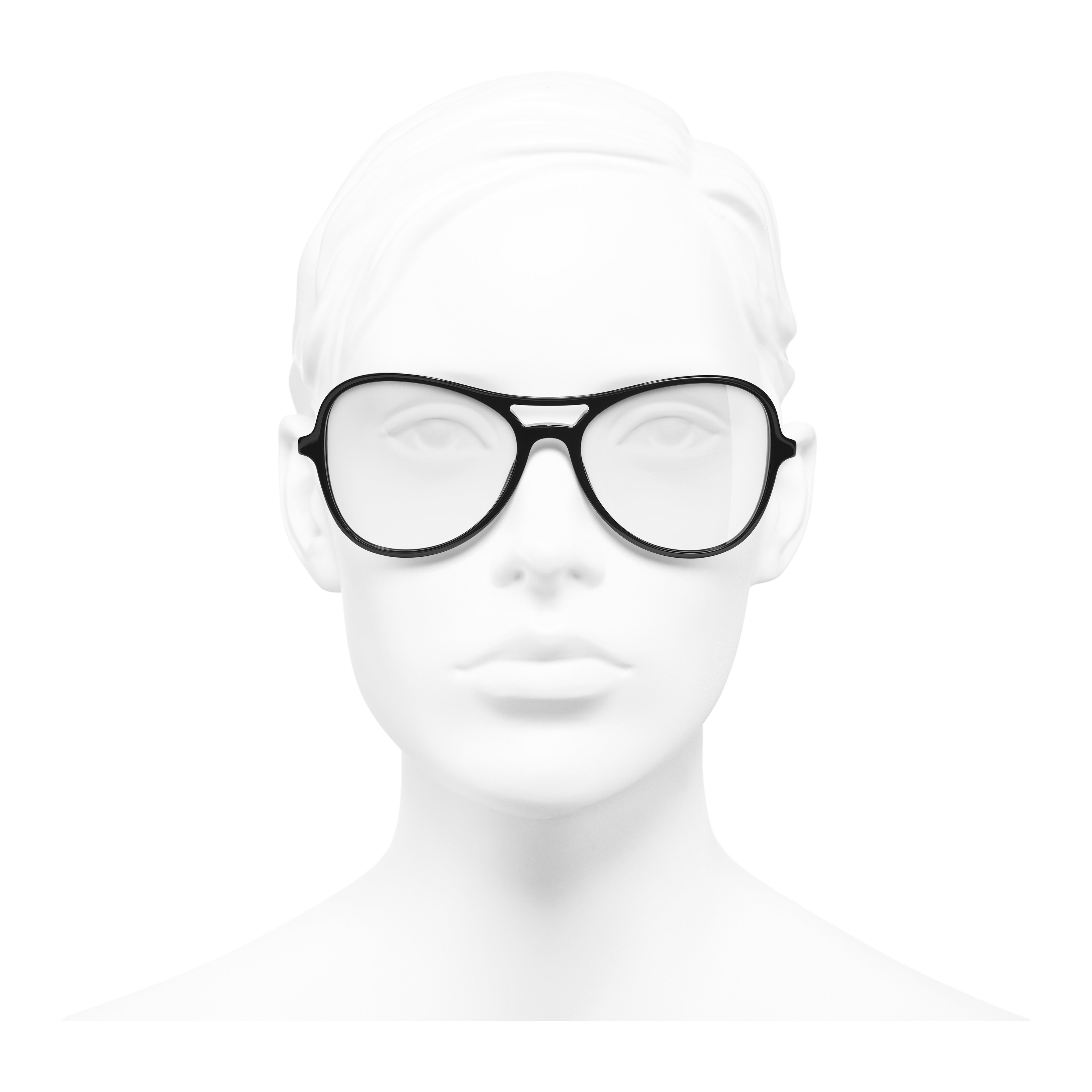 Pilot Eyeglasses - Black - Acetate & Imitation Pearls - Worn front view - see full sized version