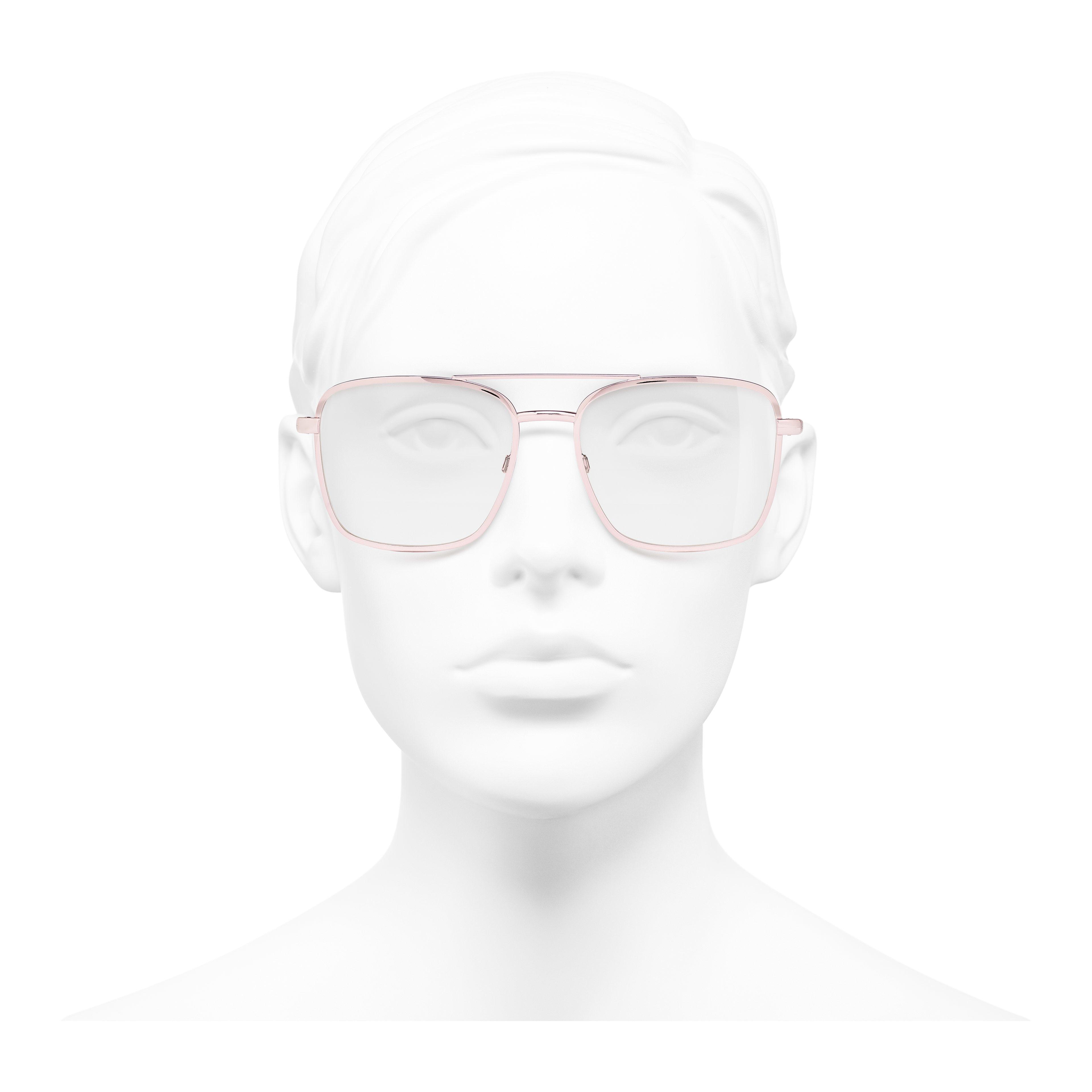 Pilot Eyeglasses - Pink - Metal - Worn front view - see full sized version