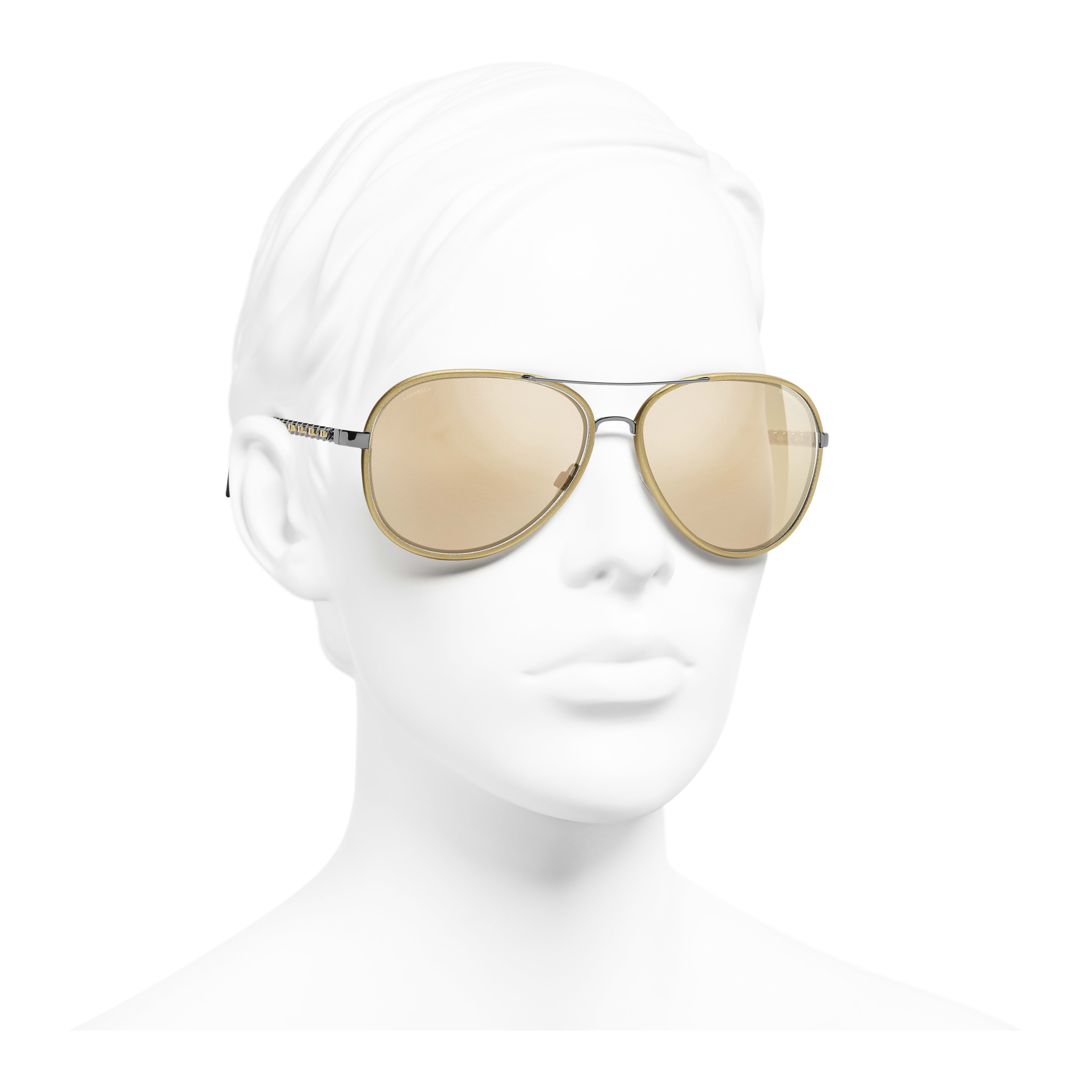 Pilot Sunglasses - Gold - Acetate - Gold Lenses - Worn 3/4 view - see full sized version