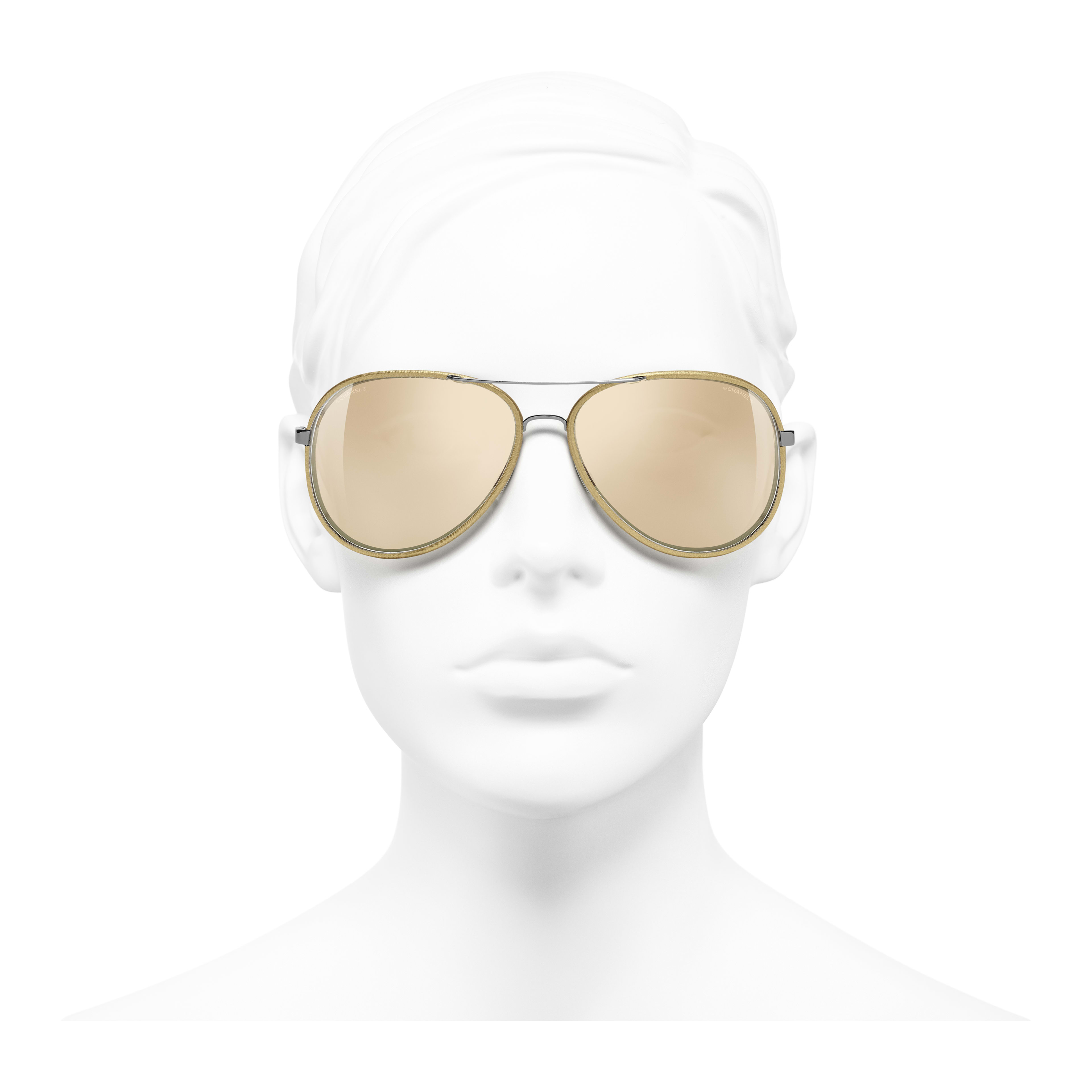 Pilot Sunglasses - Gold - Acetate - Gold Lenses - Worn front view - see full sized version