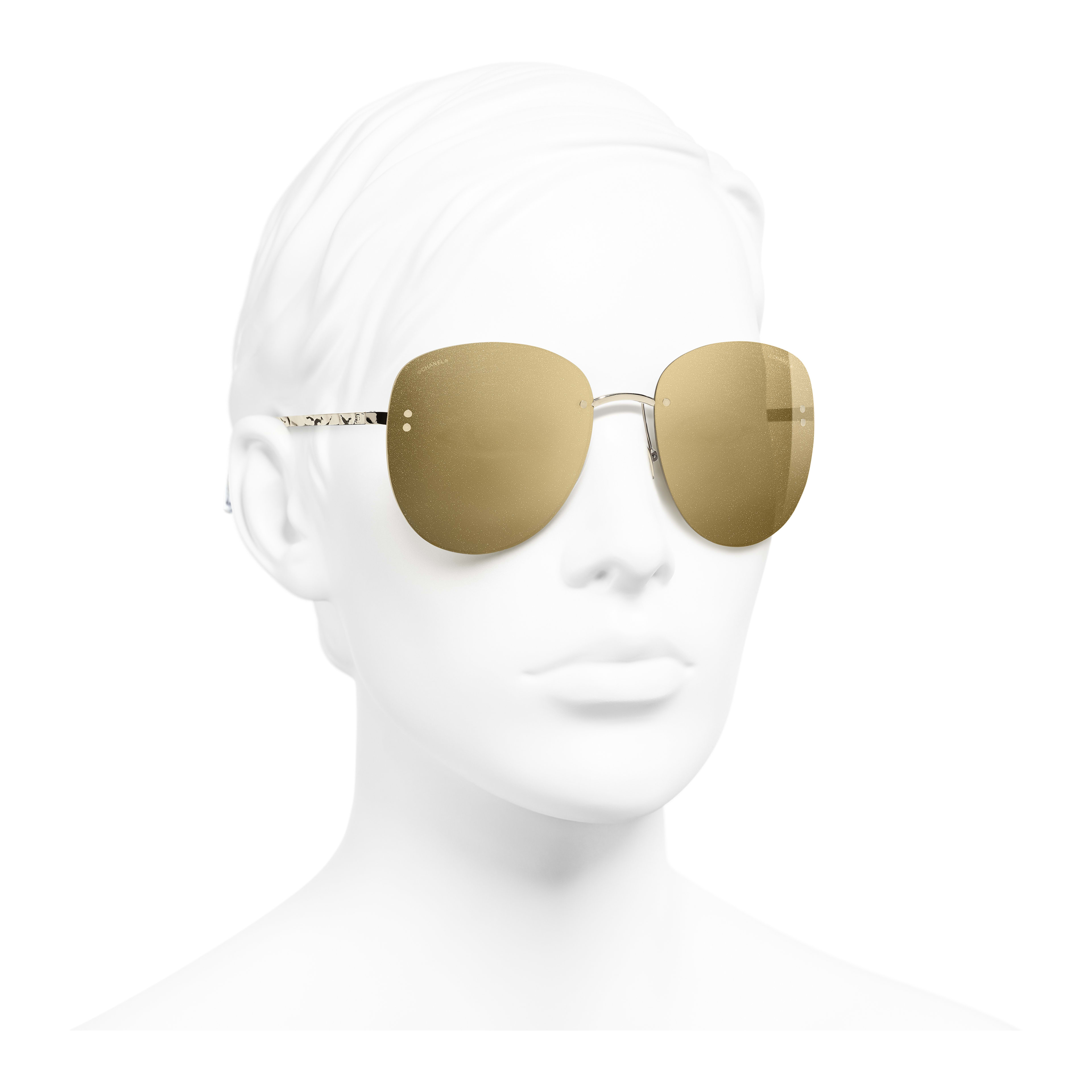 Pilot Sunglasses - Gold - Metal - Worn 3/4 view - see full sized version