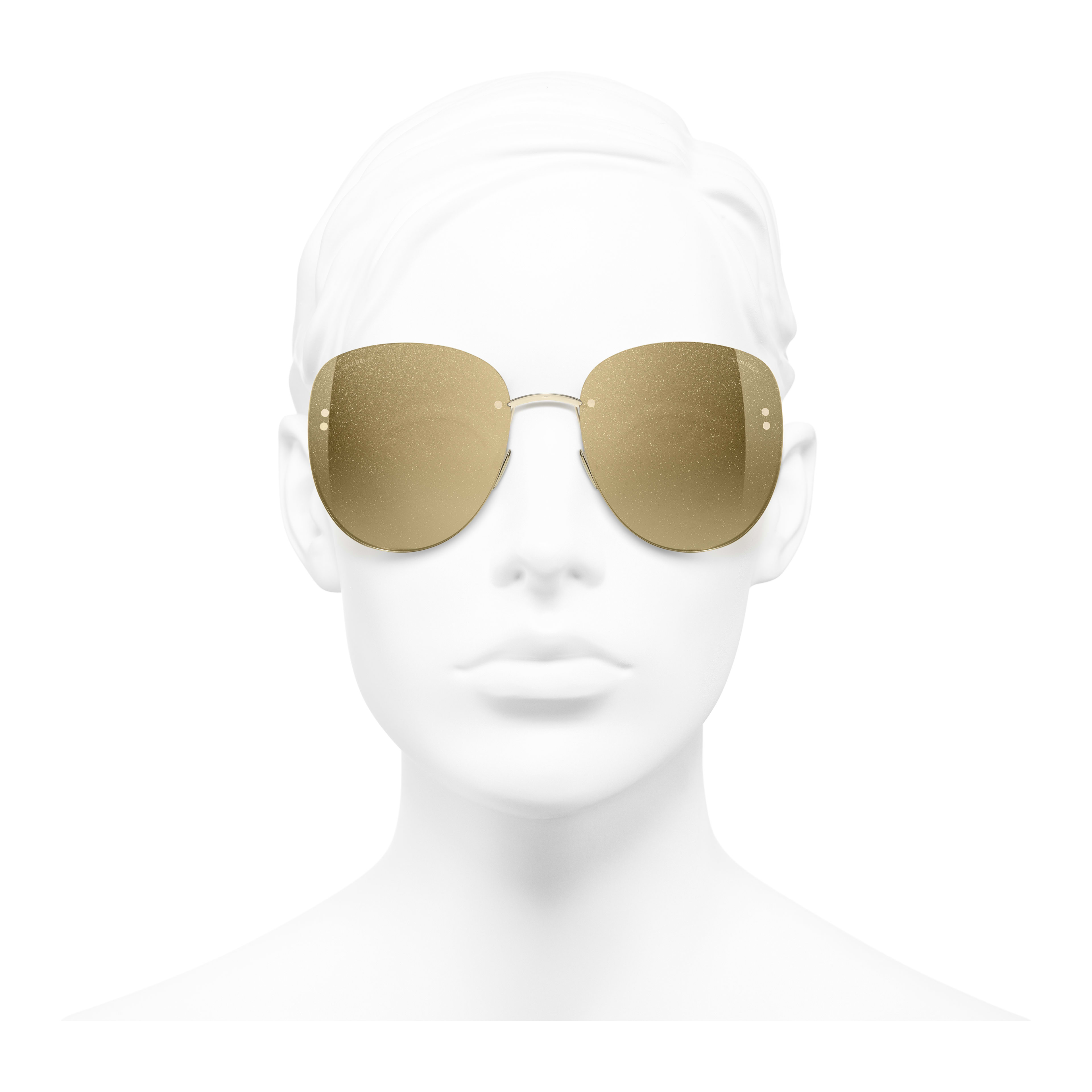 Pilot Sunglasses - Gold - Metal - Worn front view - see full sized version
