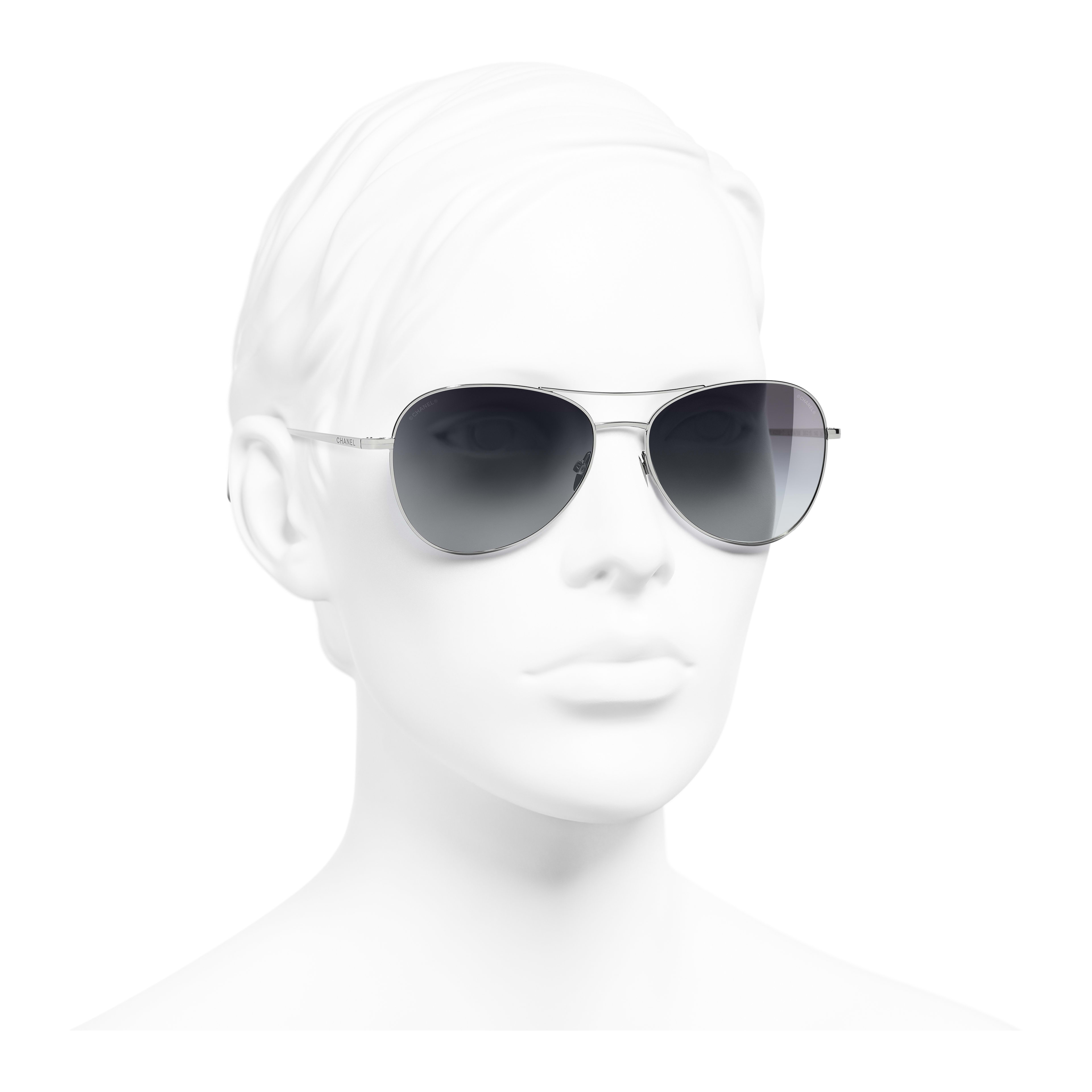 Pilot Sunglasses - Silver - Titanium - Worn 3/4 view - see full sized version