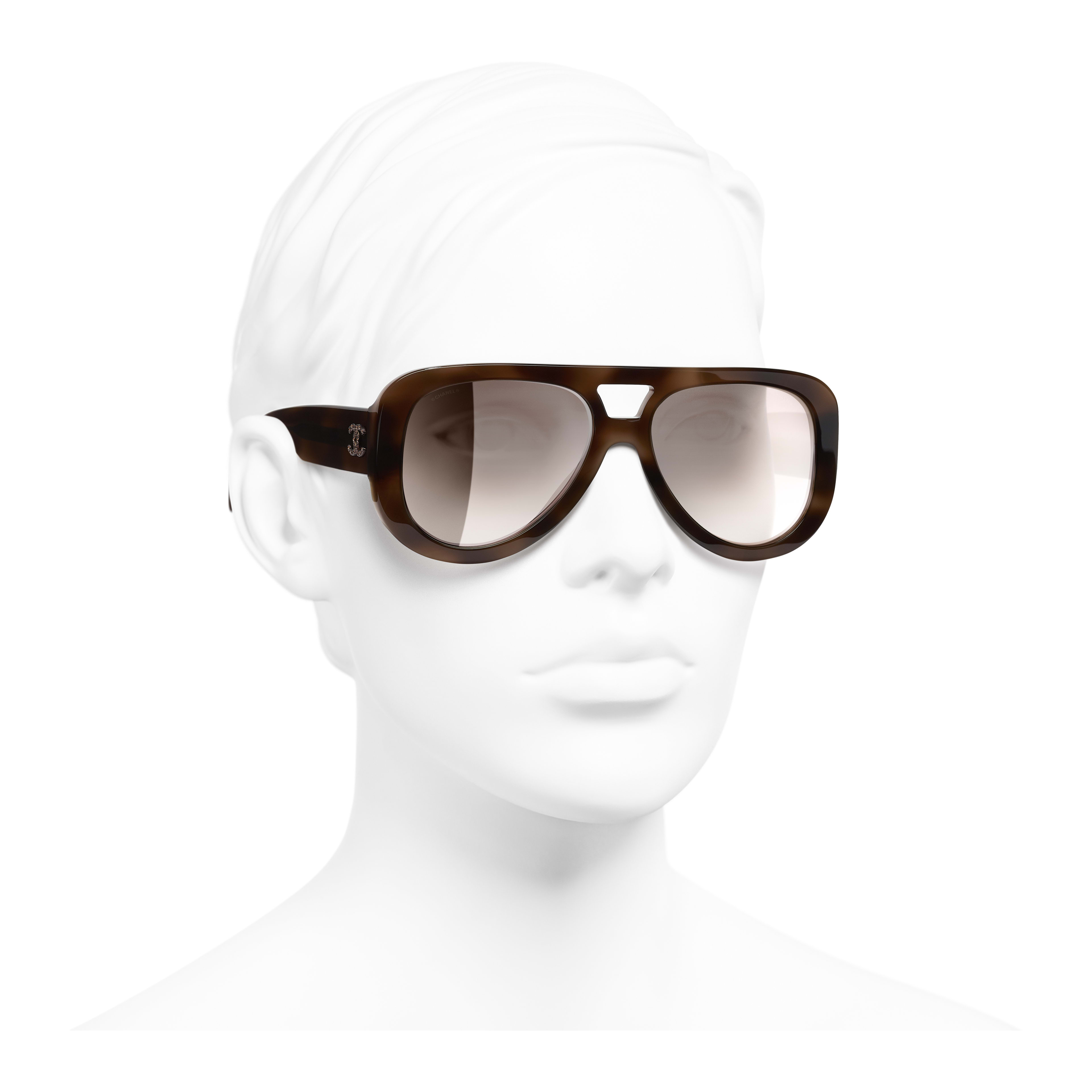 Pilot Sunglasses - Tortoise - Acetate & Strass - Worn 3/4 view - see full sized version