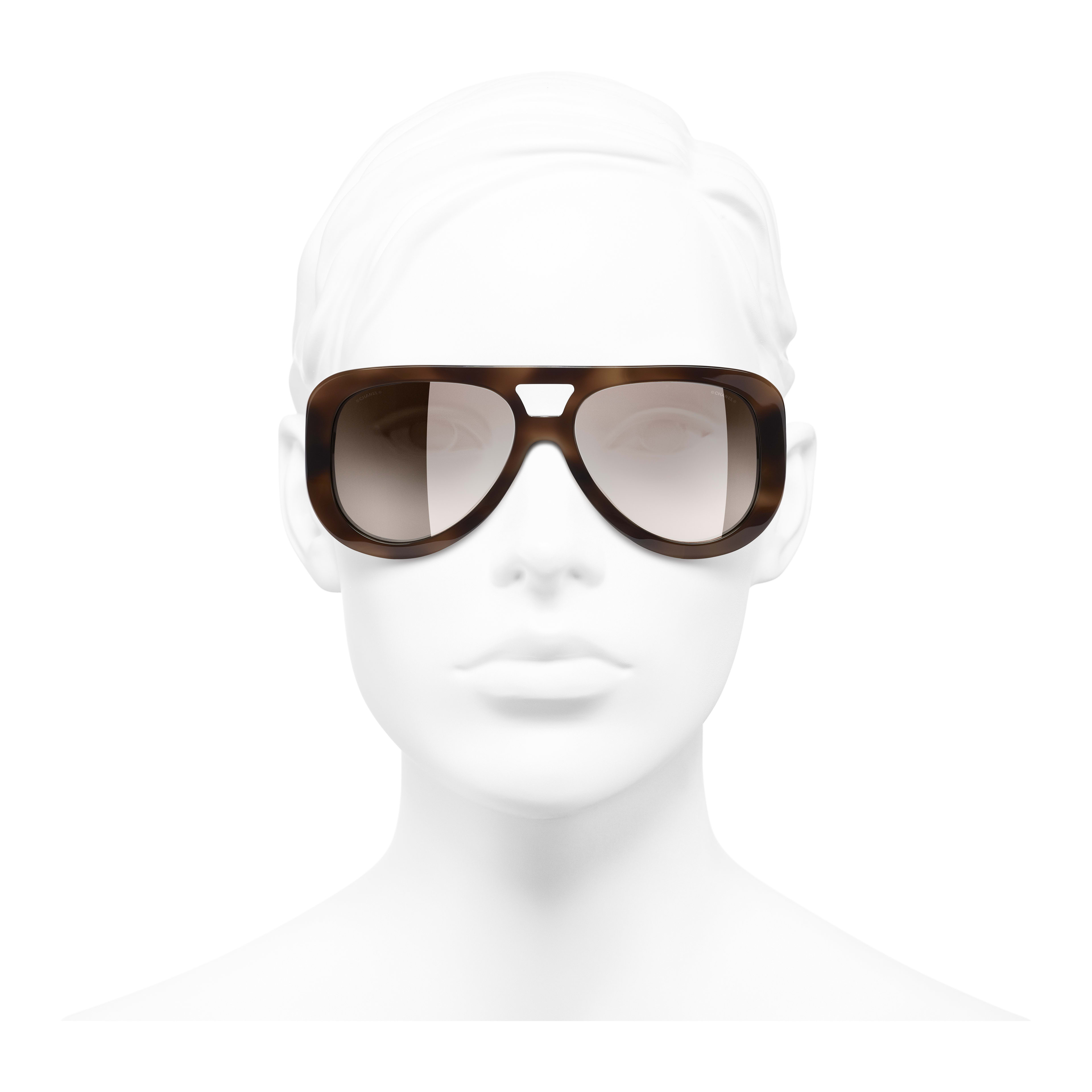 Pilot Sunglasses - Tortoise - Acetate & Strass - Worn front view - see full sized version