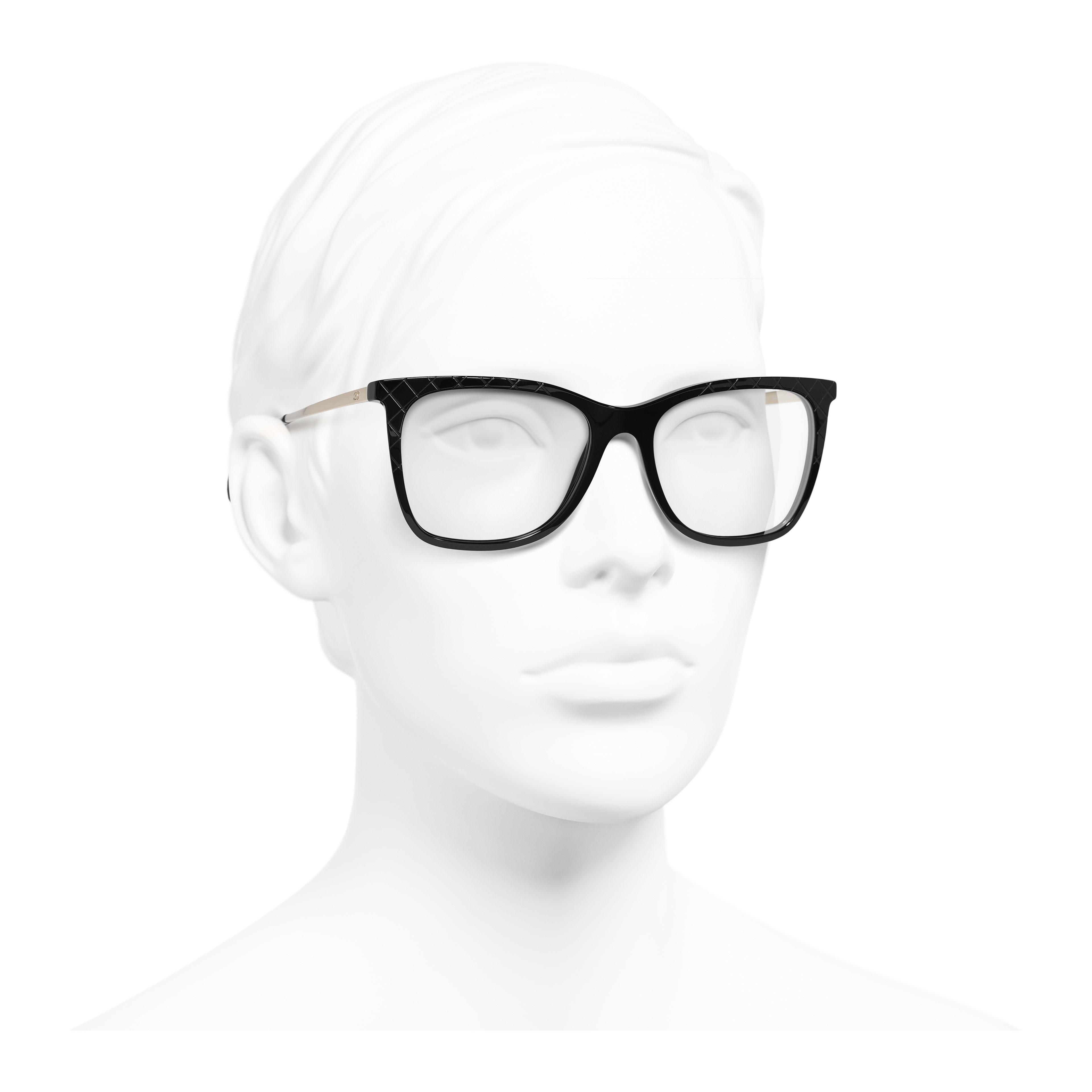 Rectangle Eyeglasses - Black - Acetate & Metal - Worn 3/4 view - see full sized version