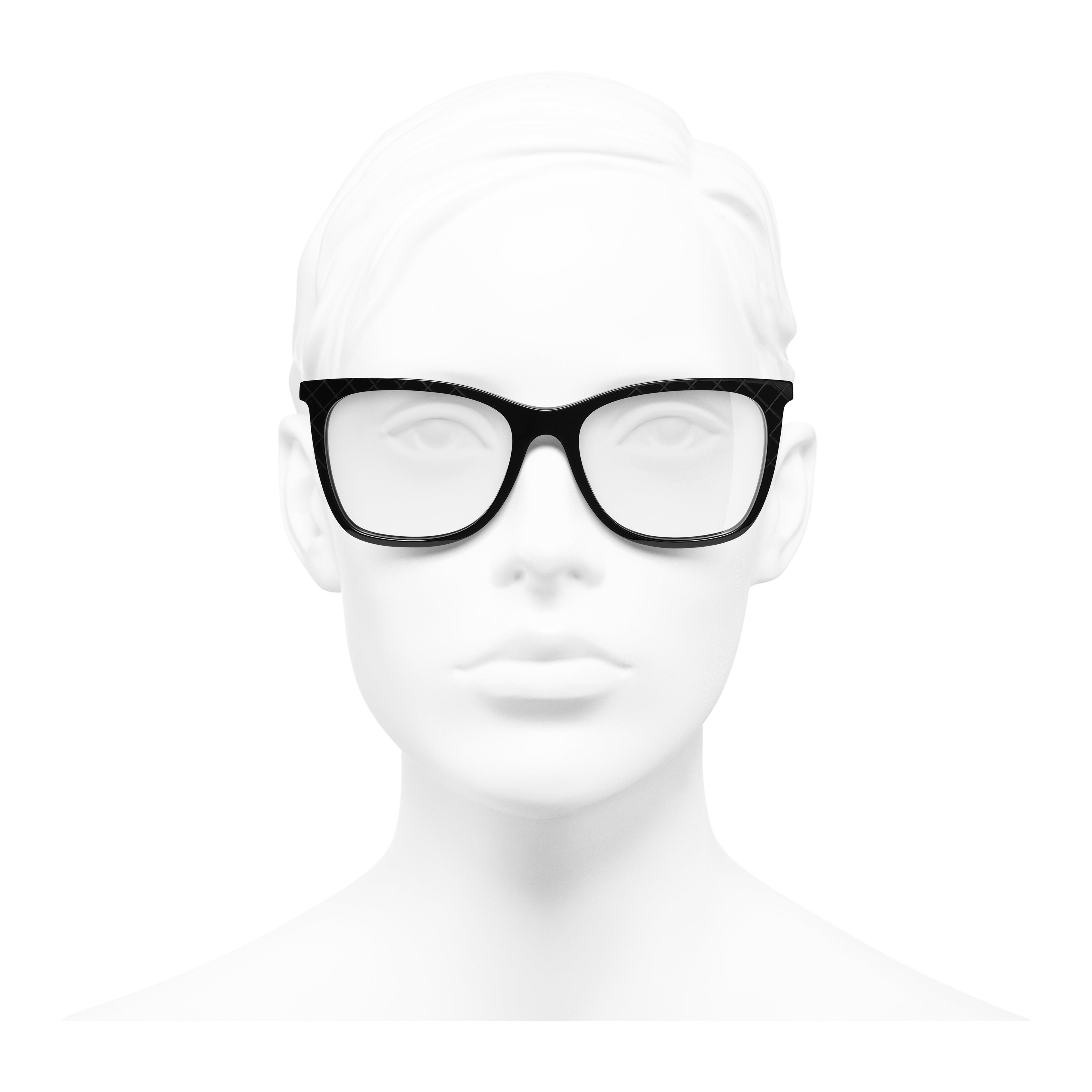 Rectangle Eyeglasses - Black - Acetate & Metal - Worn front view - see full sized version