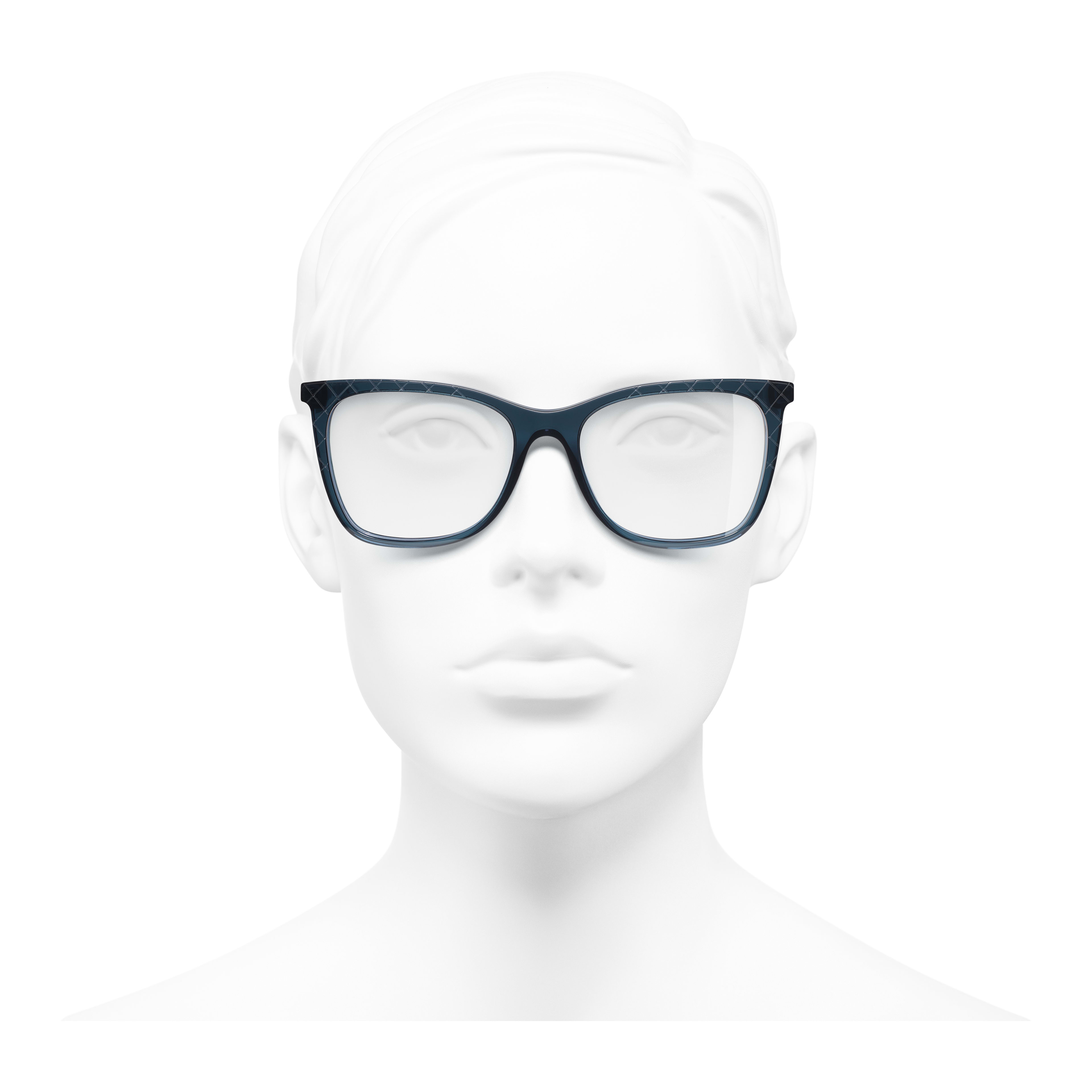 Rectangle Eyeglasses - Blue - Acetate & Metal - Worn front view - see full sized version