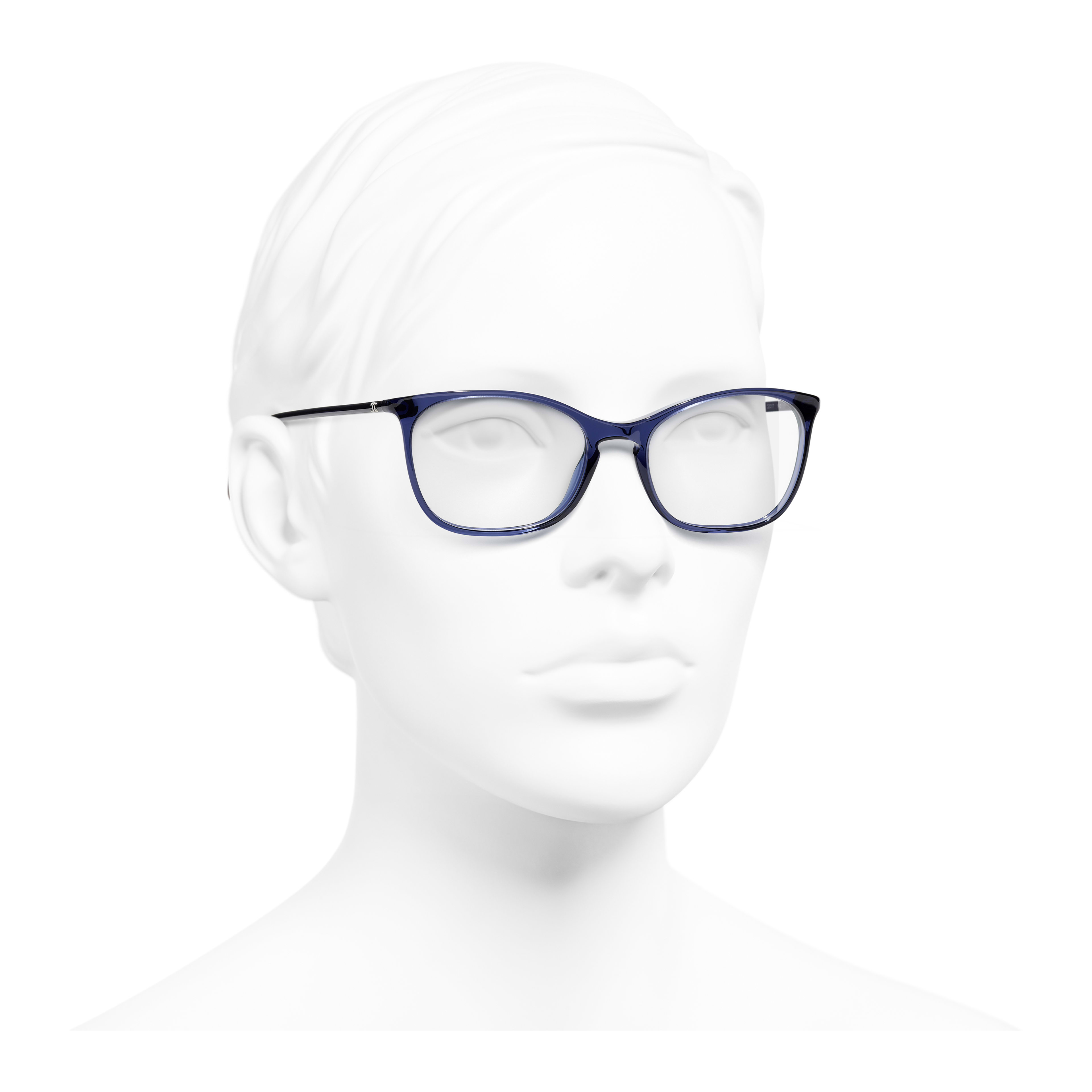 Rectangle Eyeglasses - Dark Blue - Acetate - Worn 3/4 view - see full sized version