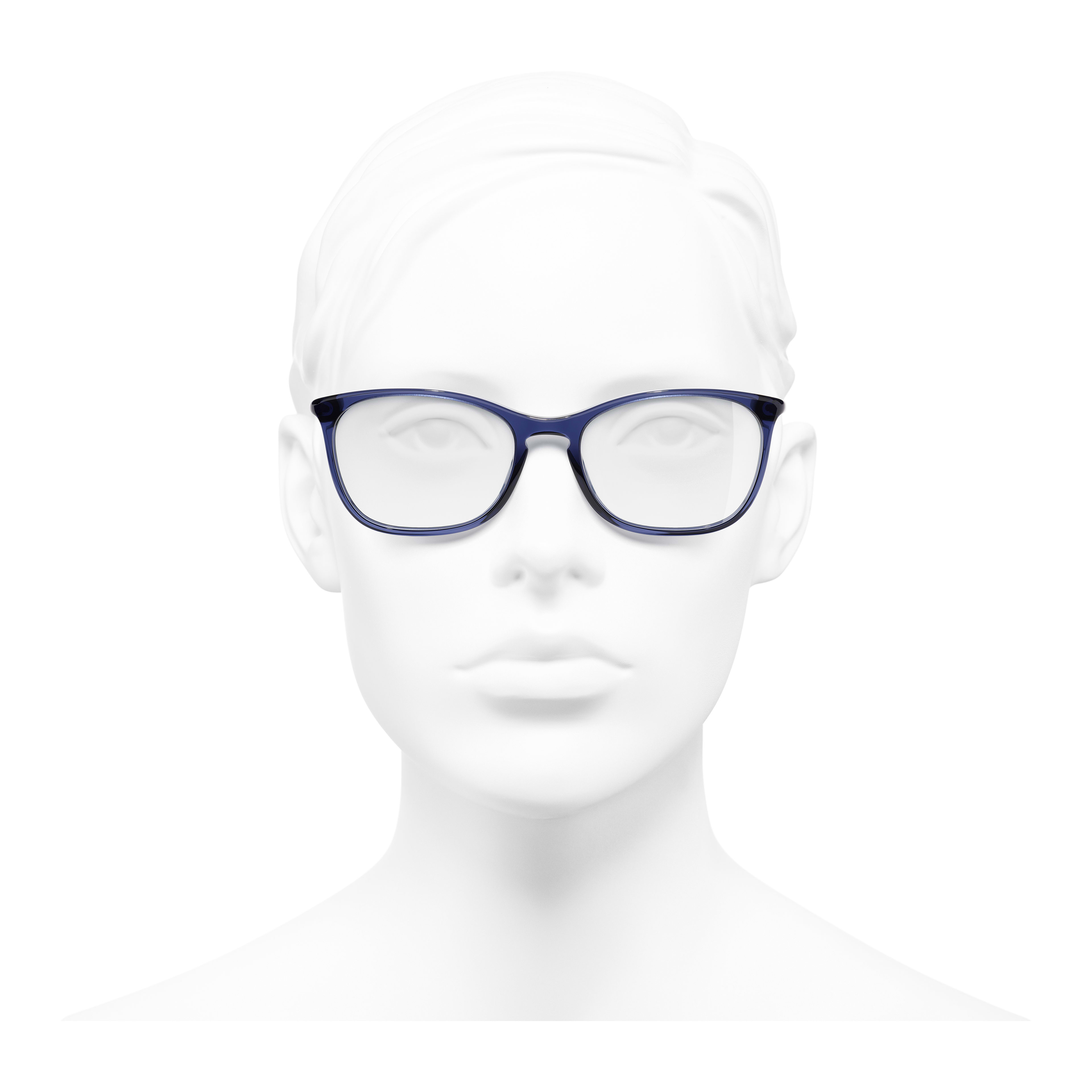 Rectangle Eyeglasses - Dark Blue - Acetate - Worn front view - see full sized version