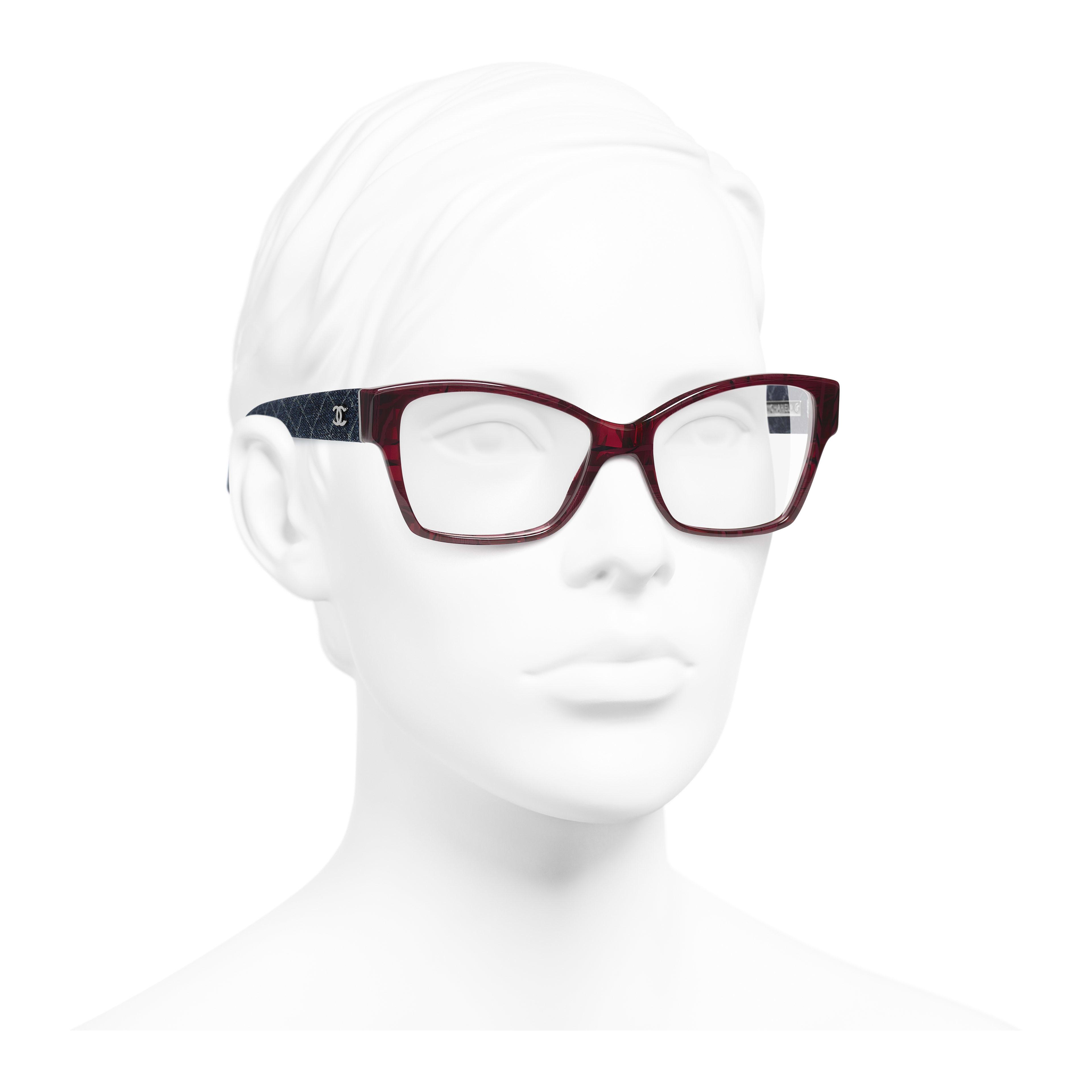 Rectangle Eyeglasses - Red & Dark Blue - Acetate & Denim - Worn 3/4 view - see full sized version