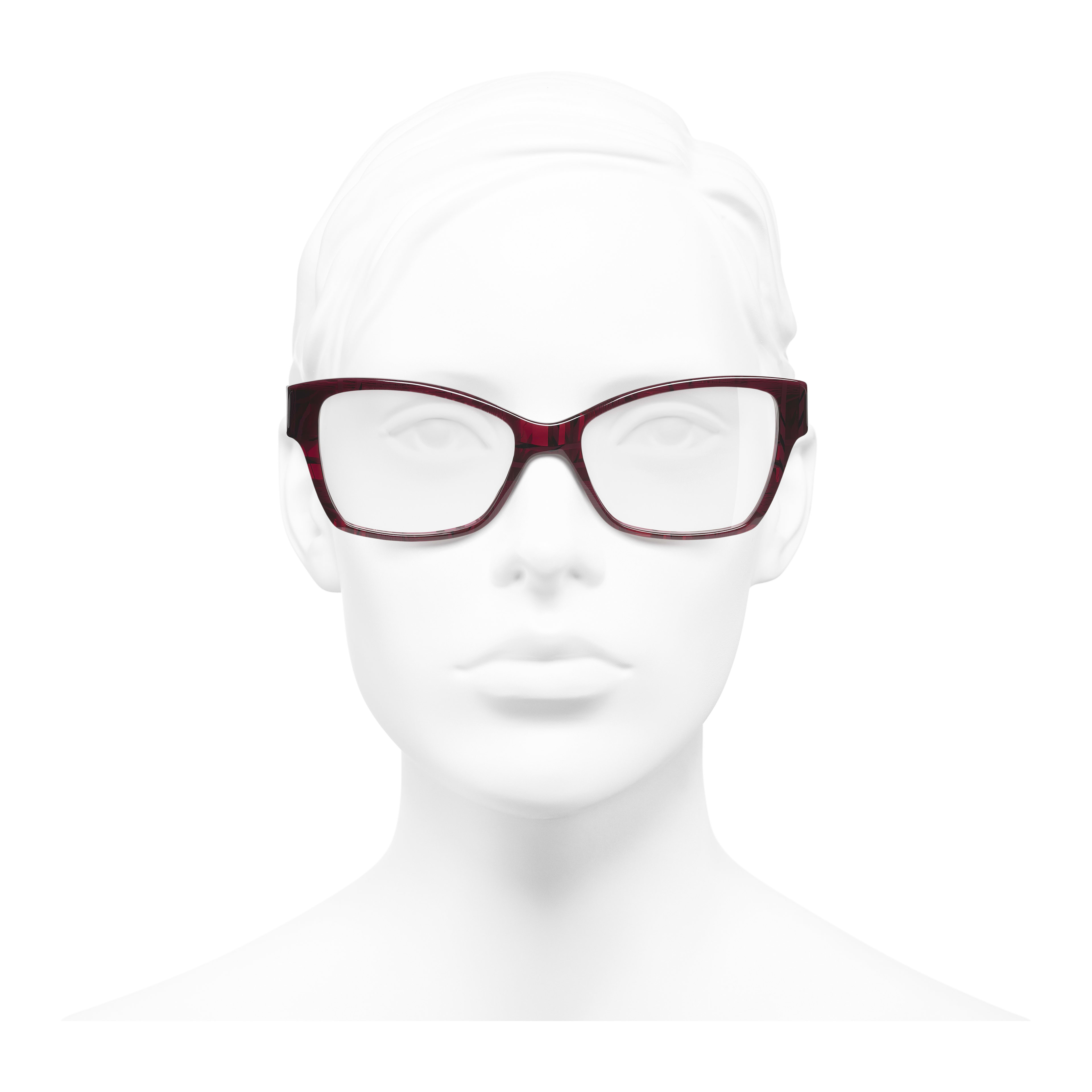 Rectangle Eyeglasses - Red & Dark Blue - Acetate & Denim - Worn front view - see full sized version