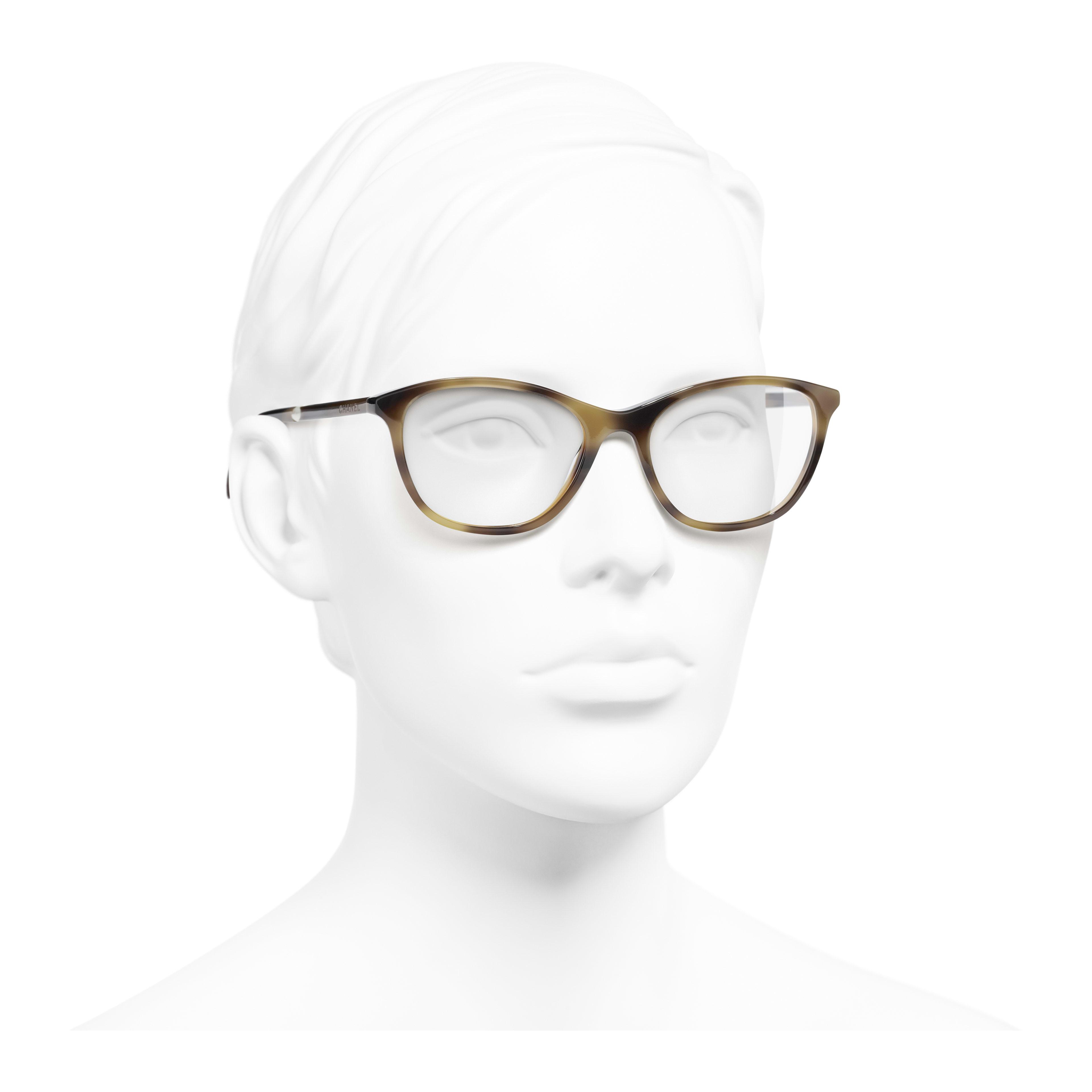 Rectangle Eyeglasses - Tortoise - Acetate & Imitation Pearls - Worn 3/4 view - see full sized version