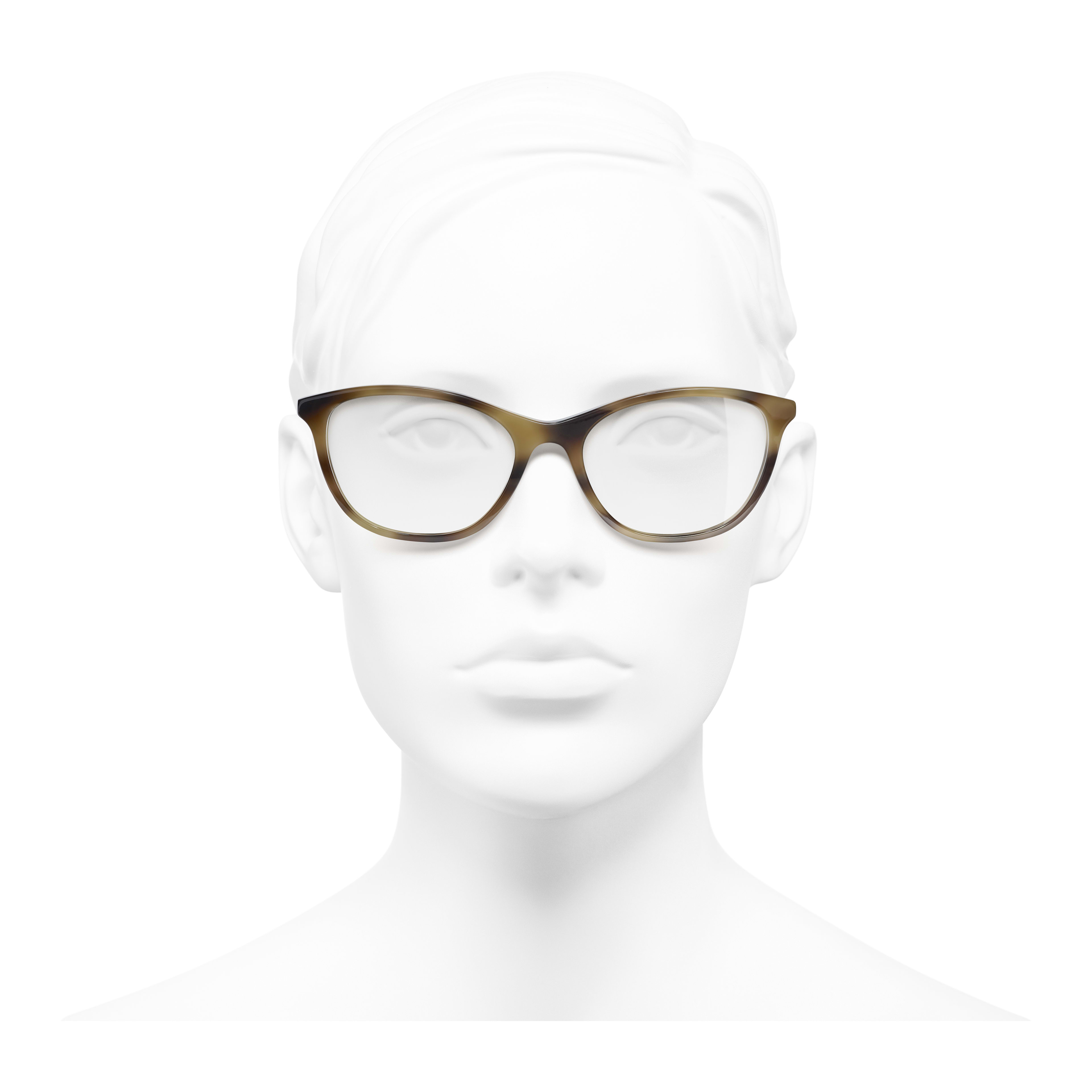Rectangle Eyeglasses - Tortoise - Acetate & Imitation Pearls - Worn front view - see full sized version