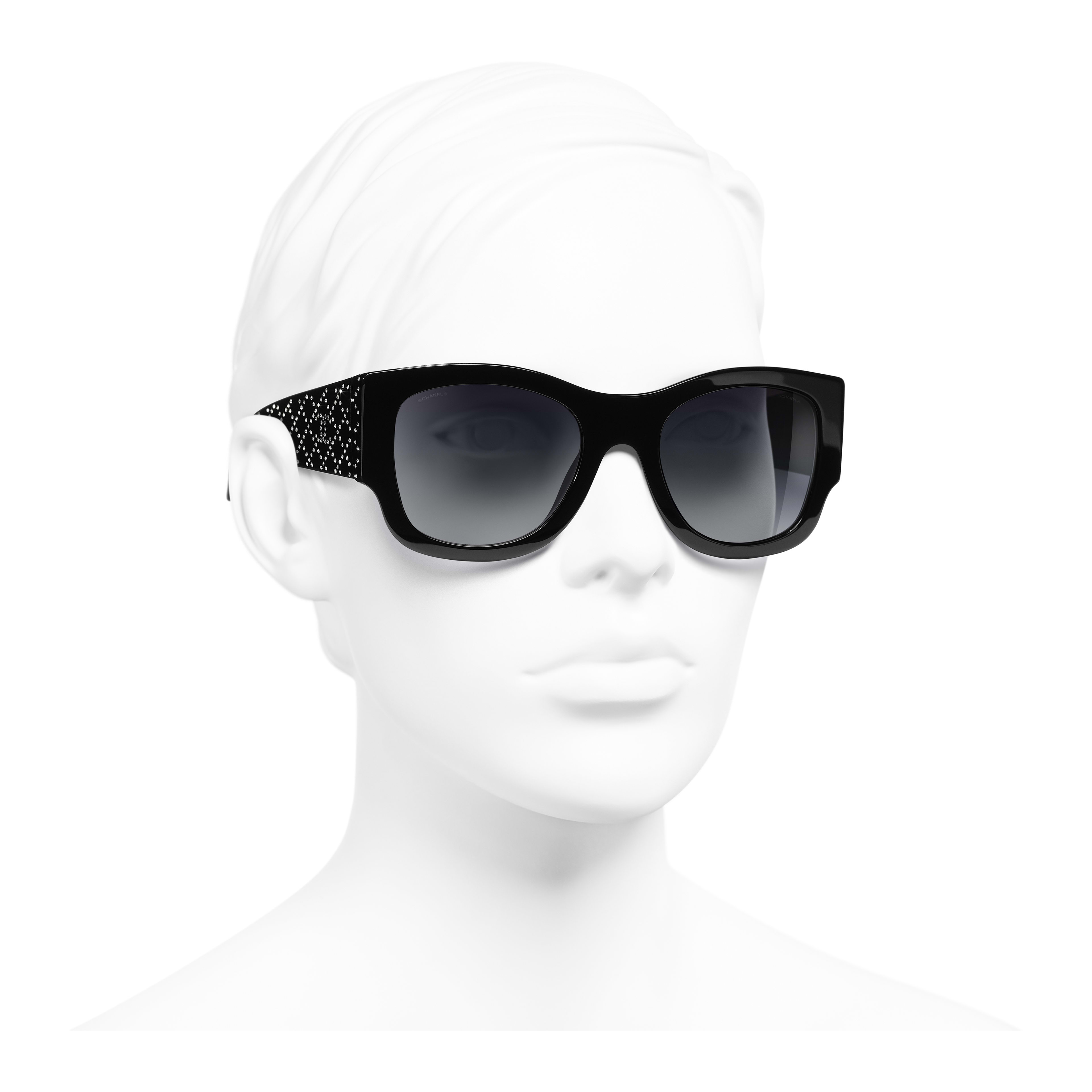 Rectangle Sunglasses - Black - Acetate & Strass - Worn 3/4 view - see full sized version