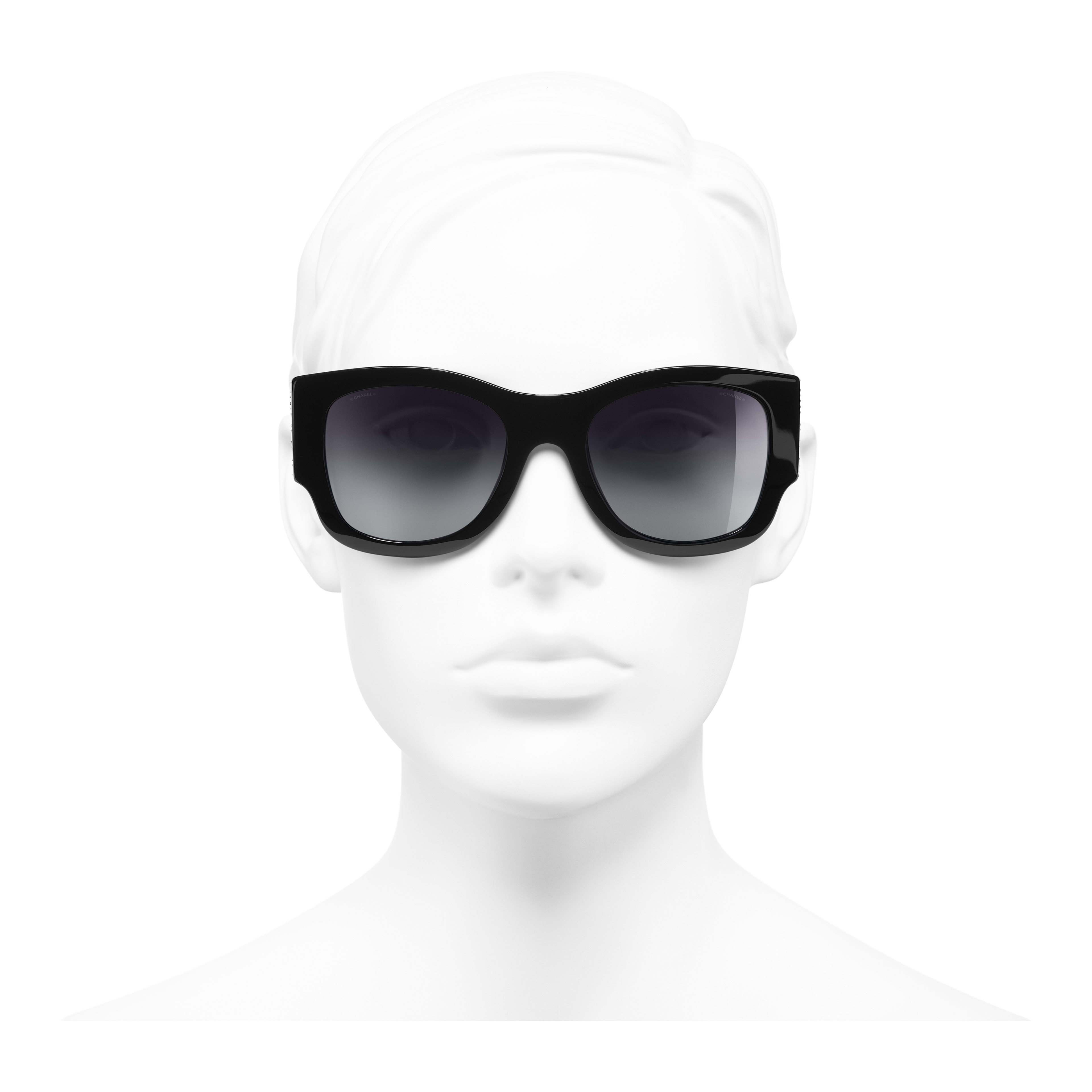 Rectangle Sunglasses - Black - Acetate & Strass - Worn front view - see full sized version