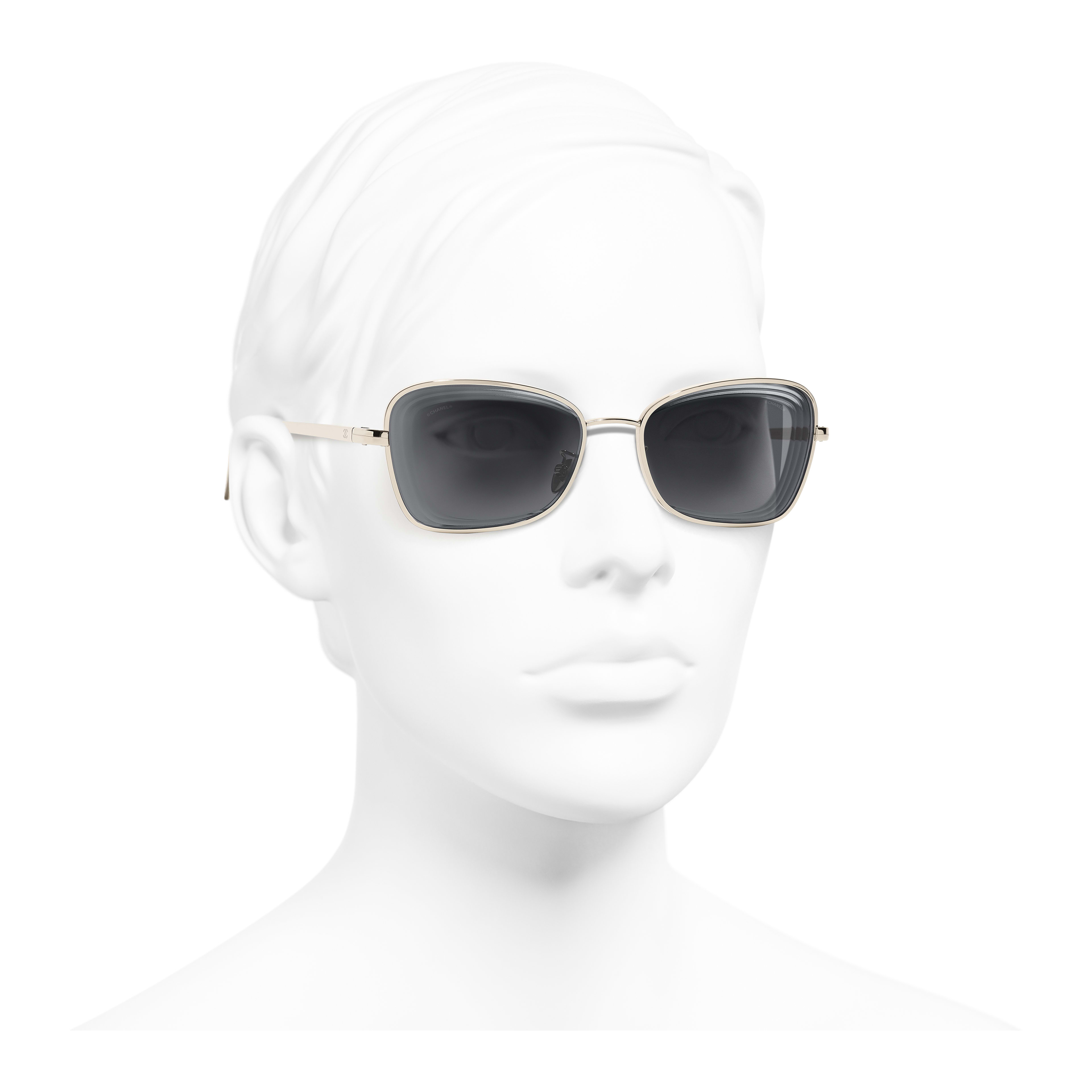 Rectangle Sunglasses - Gold - Metal - Worn 3/4 view - see full sized version
