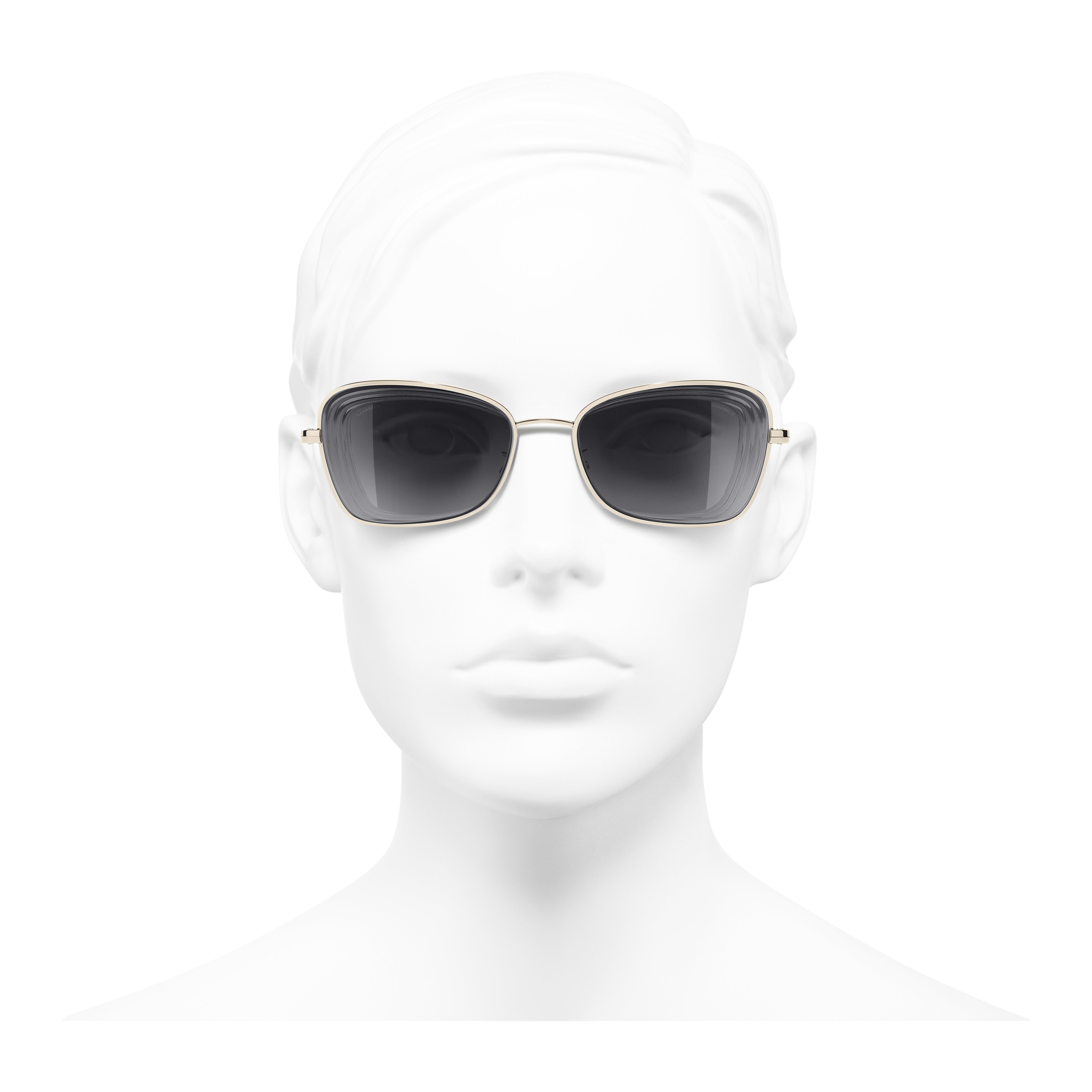 Rectangle Sunglasses - Gold - Metal - Worn front view - see full sized version