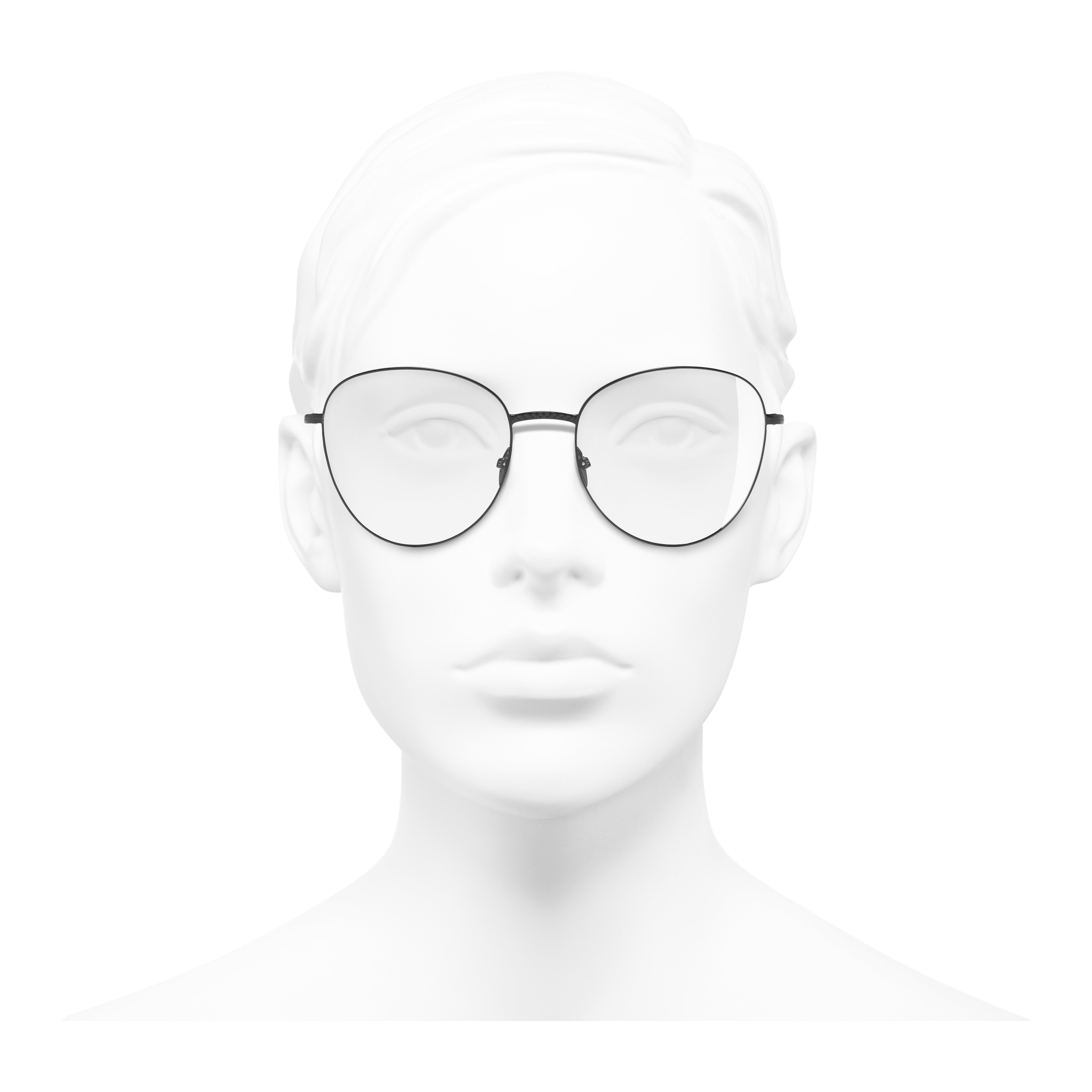Round Eyeglasses - Black - Metal - Worn front view - see full sized version
