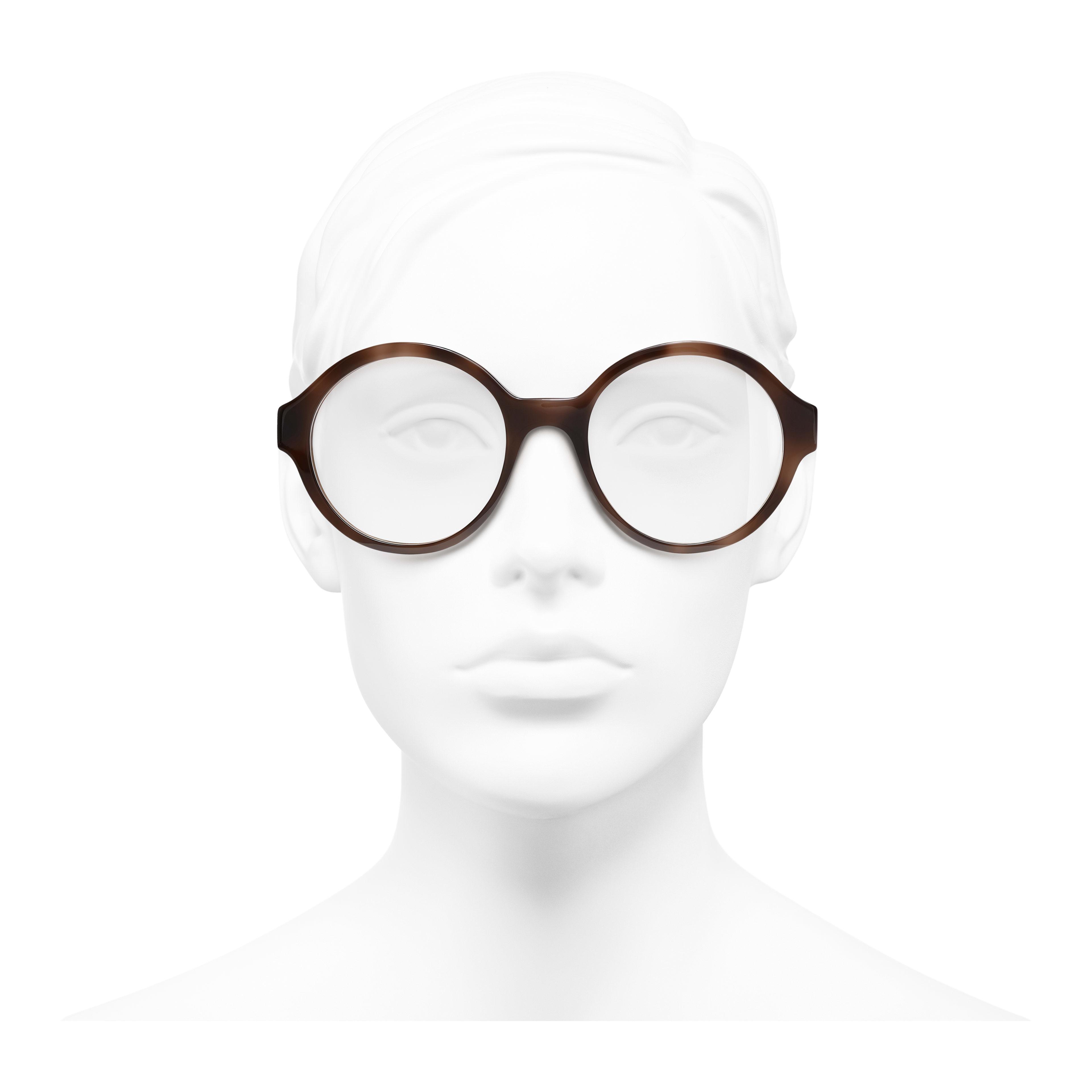 แว่นสายตาทรงกลม - สีน้ำตาล - อะซิเตท - มุมมองการสวมใส่ด้านหน้า - ดูเวอร์ชันขนาดเต็ม