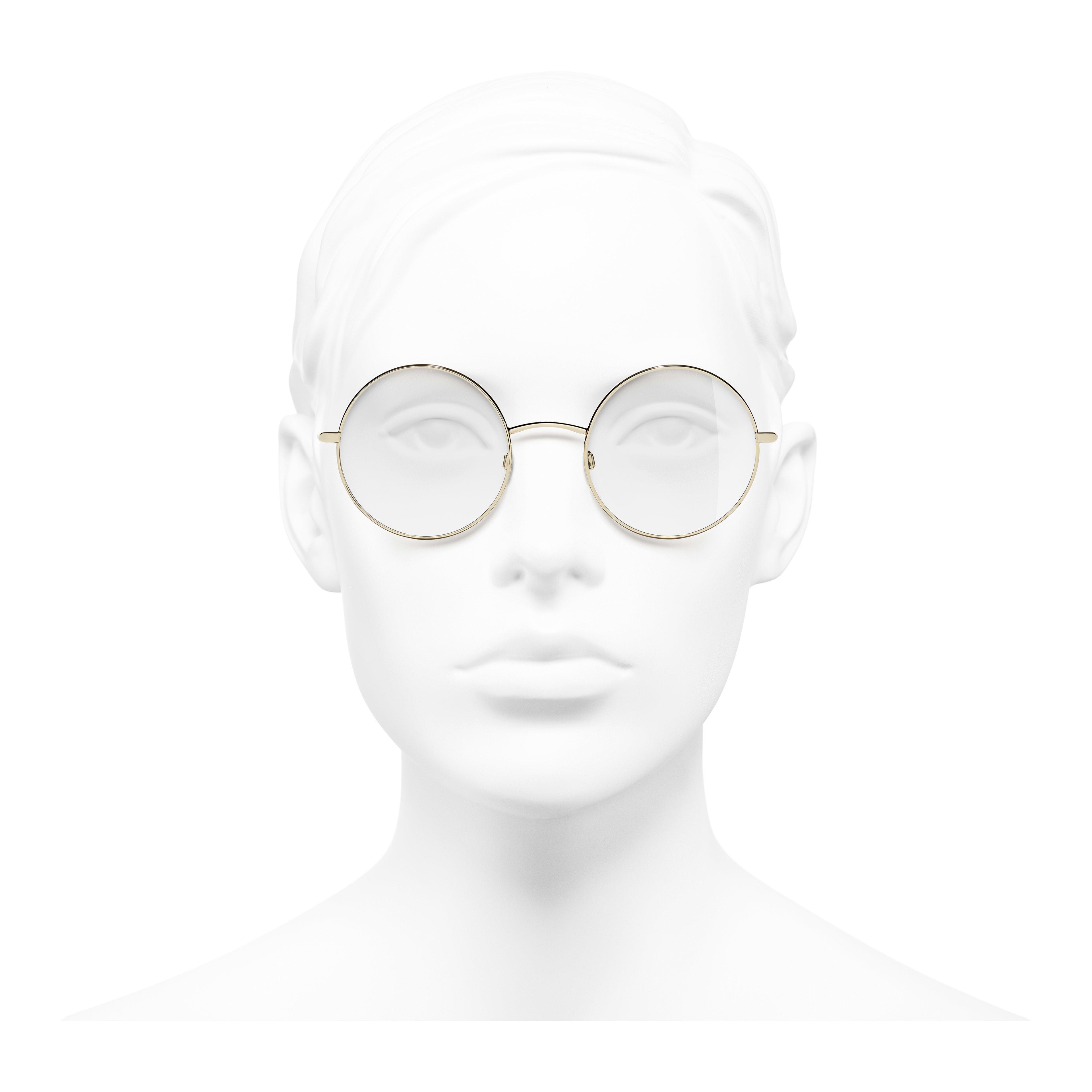 b46e878ffdb Round Eyeglasses - Gold - Metal - Worn front view - see full sized version  ...