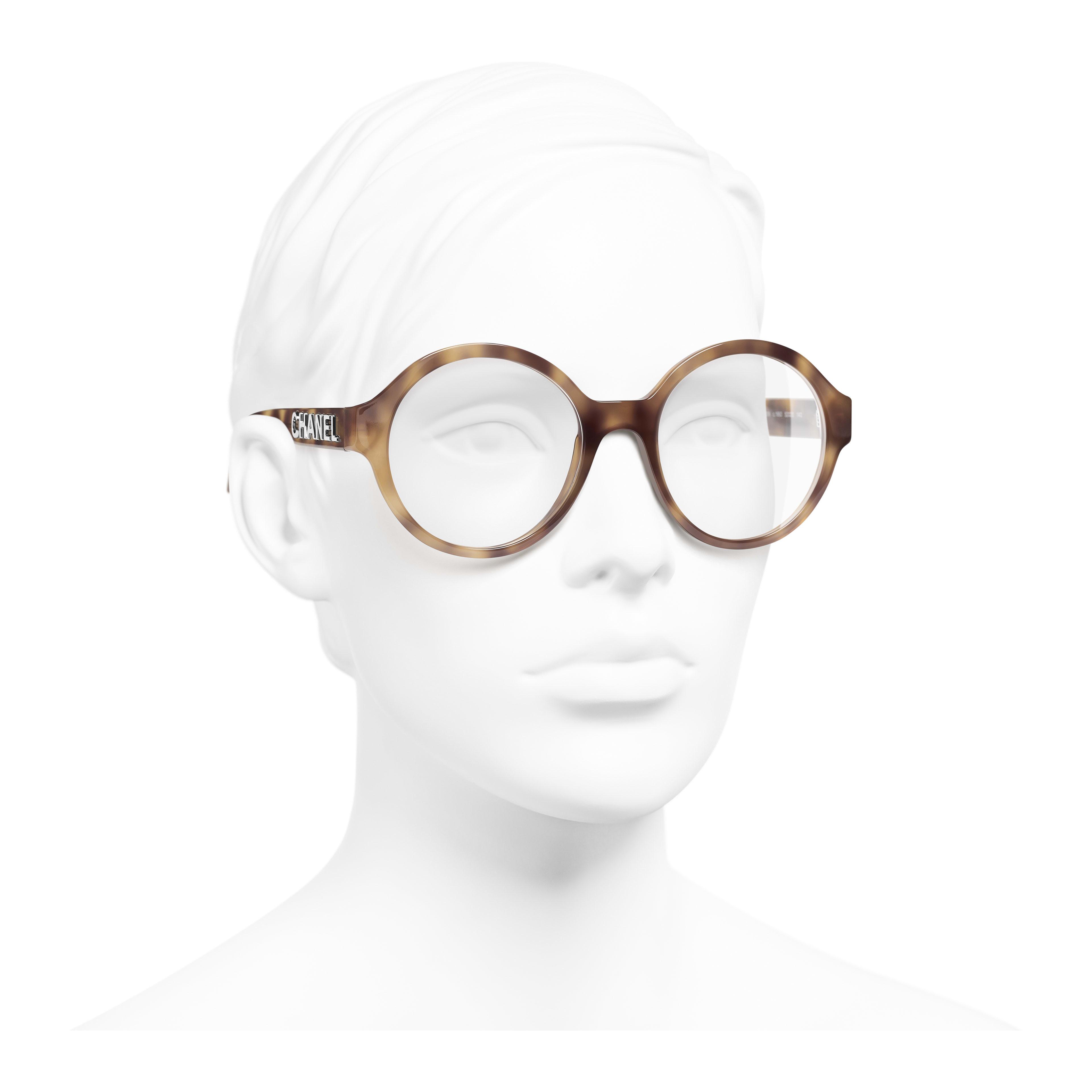 แว่นสายตาทรงกลม - สีกระอ่อน - อะซิเตท - มุมมองการสวมใส่ 3/4 - ดูเวอร์ชันขนาดเต็ม
