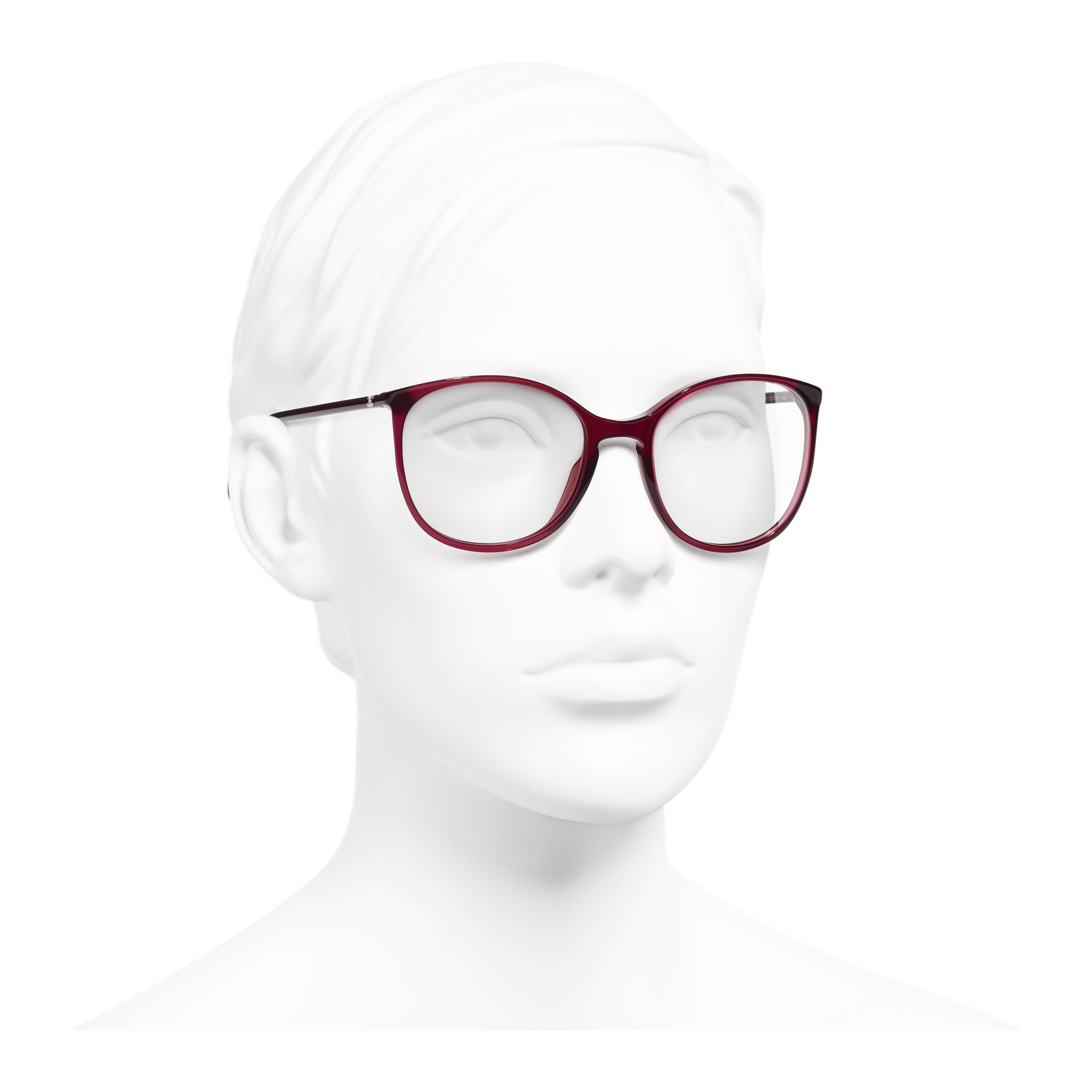 Round Eyeglasses - Red - Acetate - Worn 3/4 view - see full sized version
