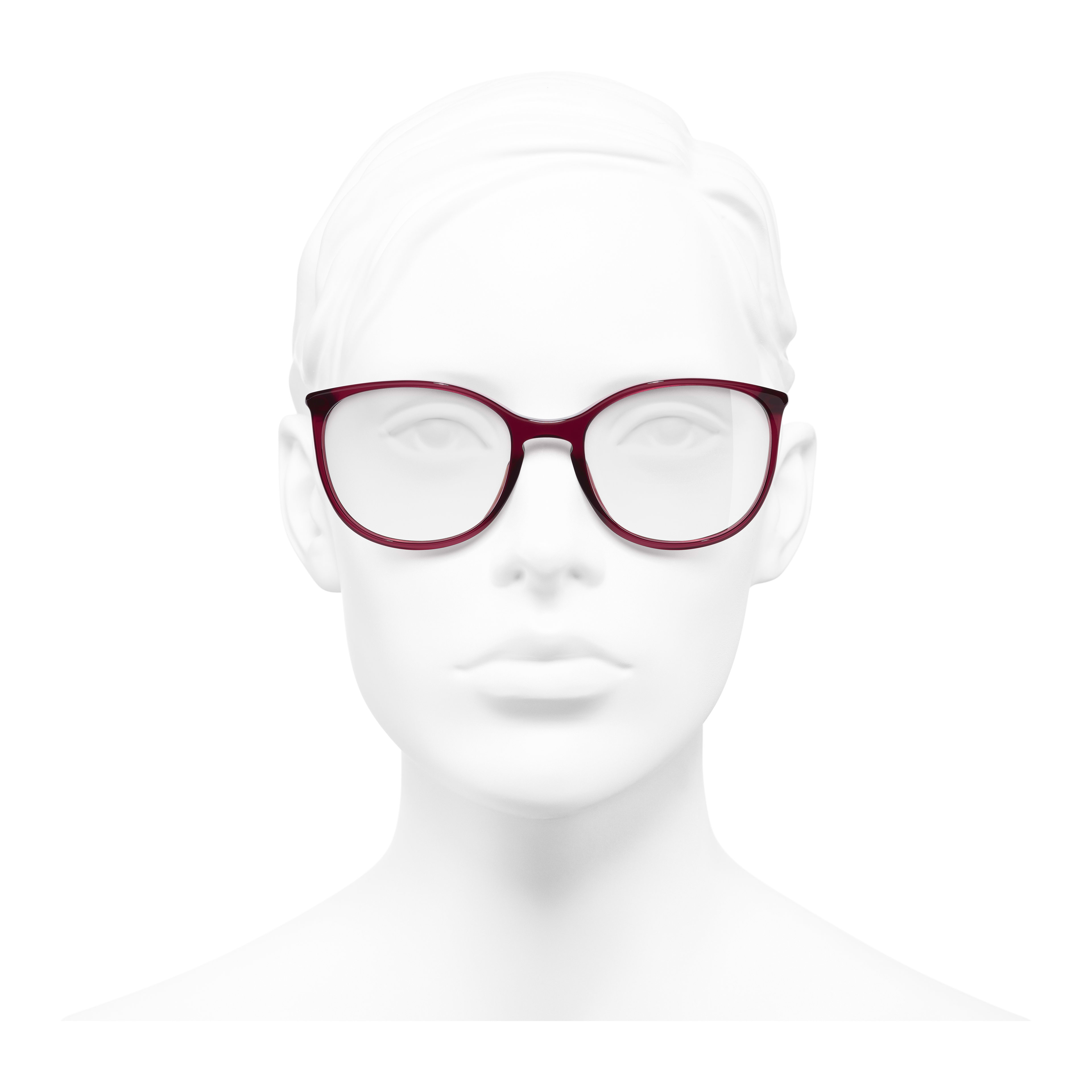 Round Eyeglasses - Red - Acetate - Worn front view - see full sized version