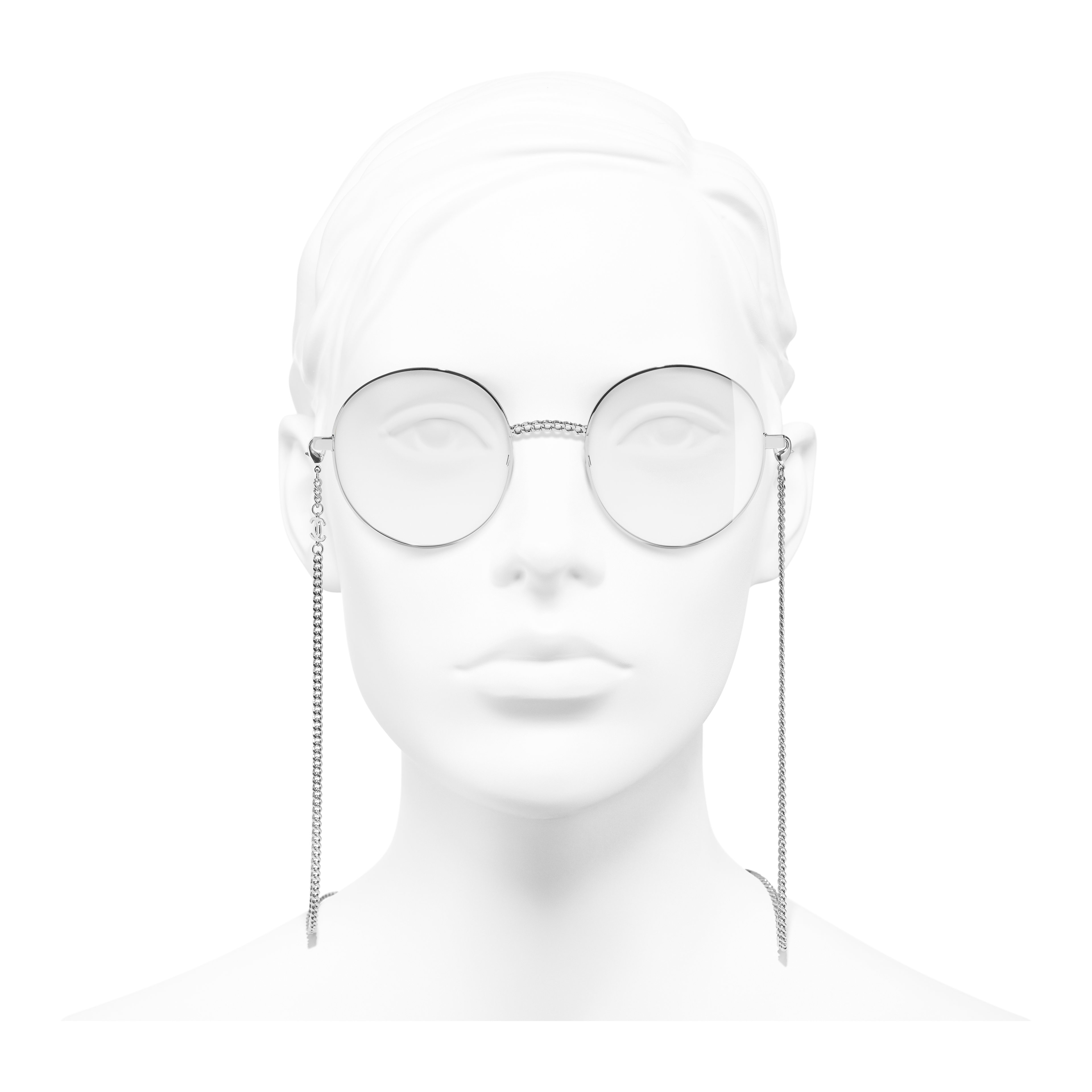 Round Eyeglasses - Silver - Metal - Worn front view - see full sized version